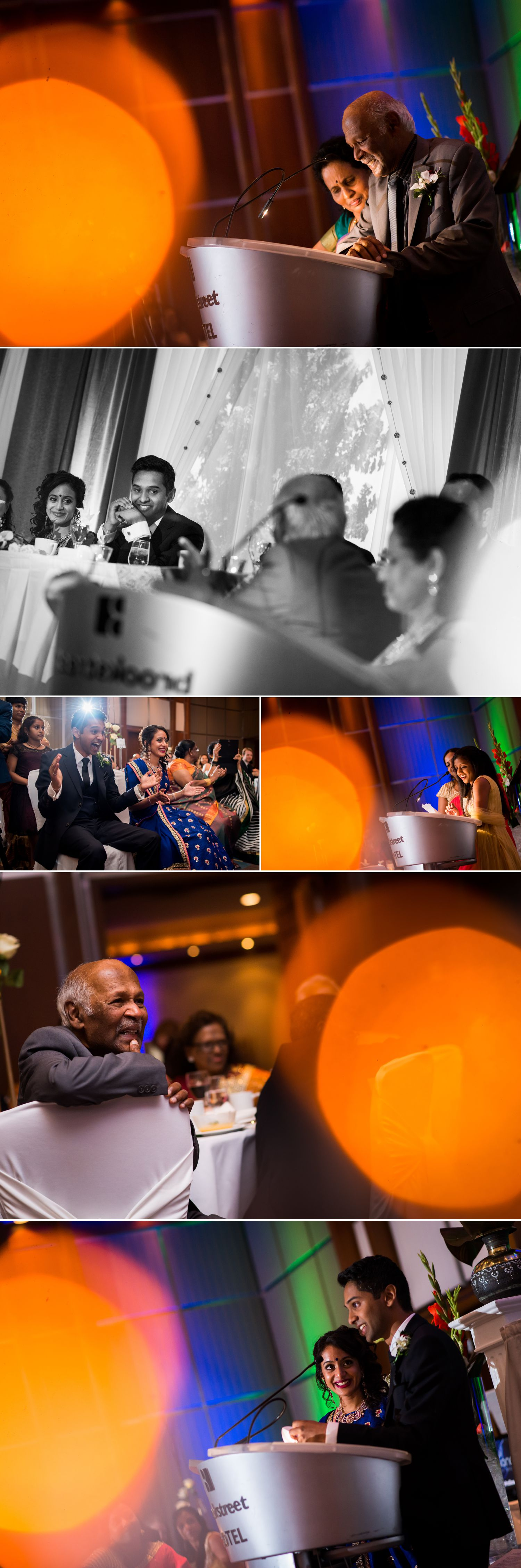 The bride and groom during wedding speeches with friends and family at their Brookstreet Hotel Wedding Reception
