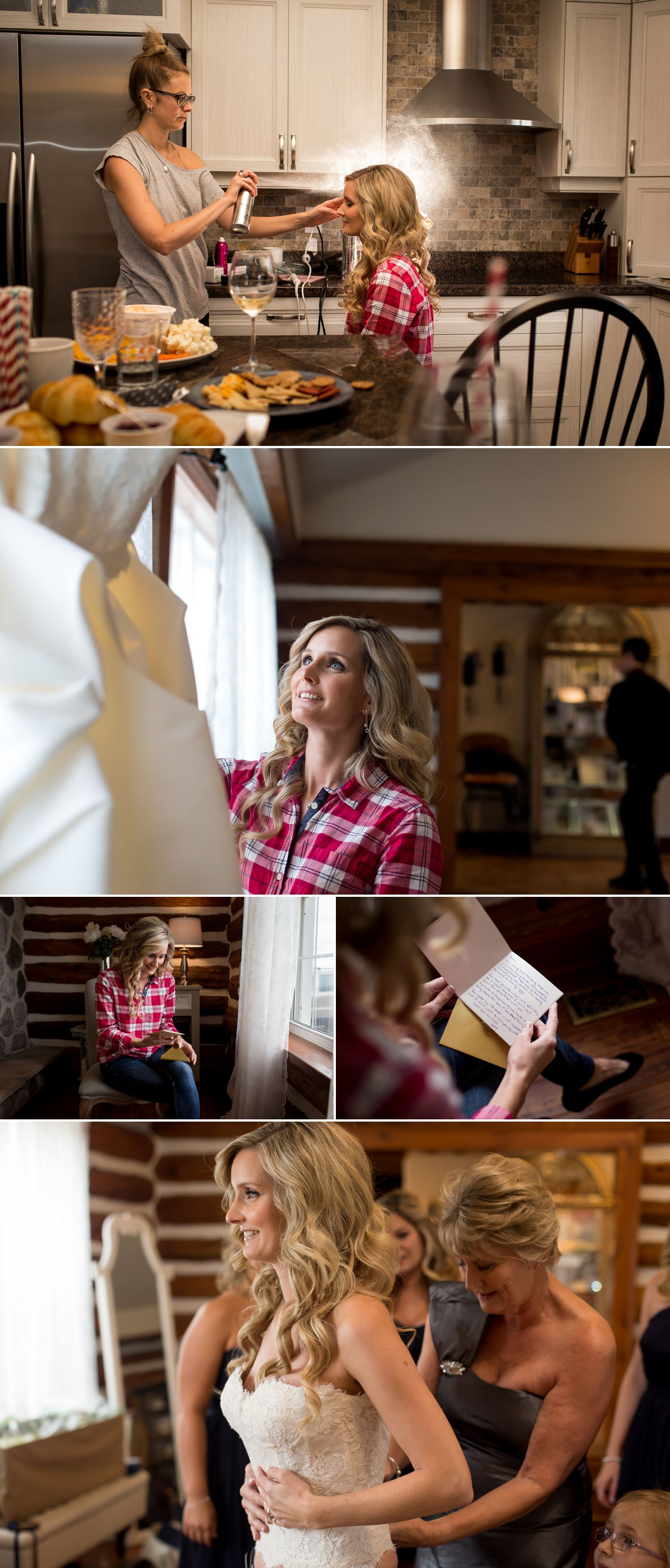 The bride with her mother and bridesmaids getting ready at Stonefields Heritage Farm