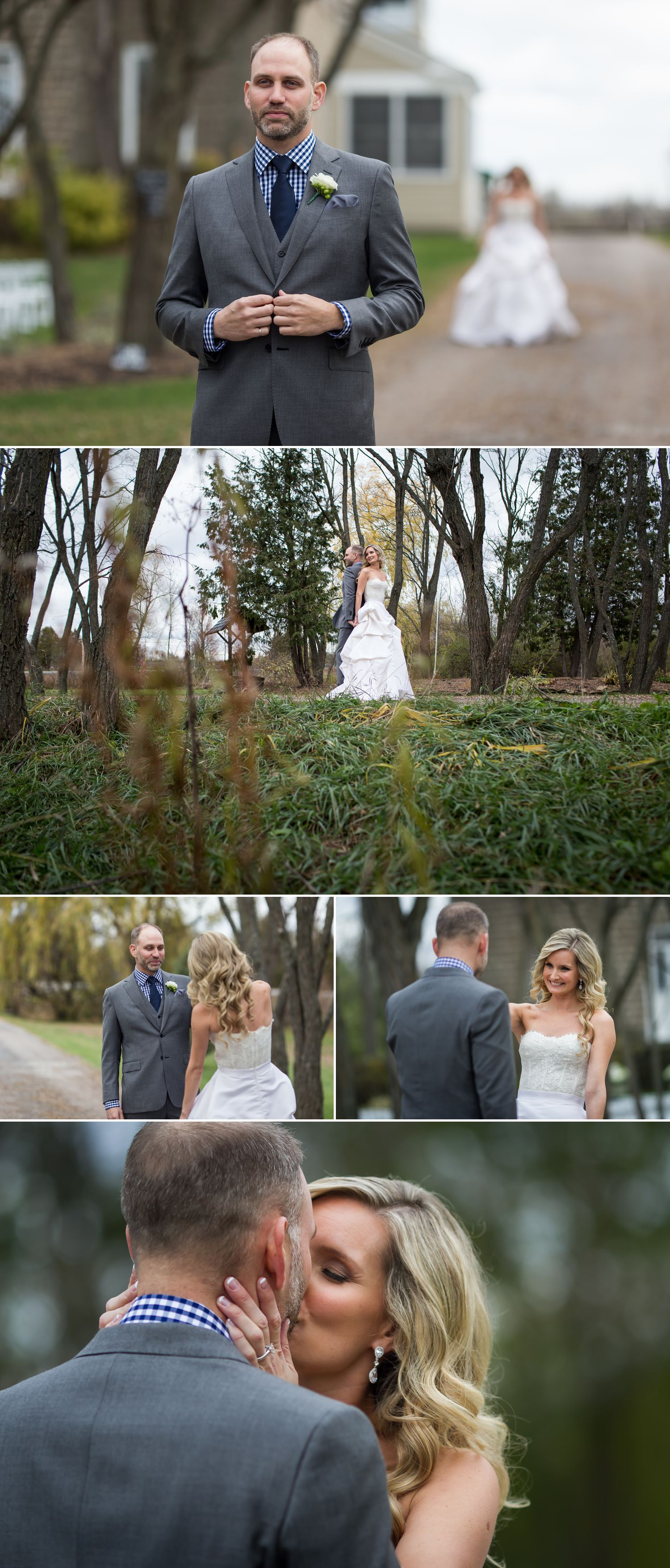 The bride and groom during their First Look outside at Stonefields Heritage Farm