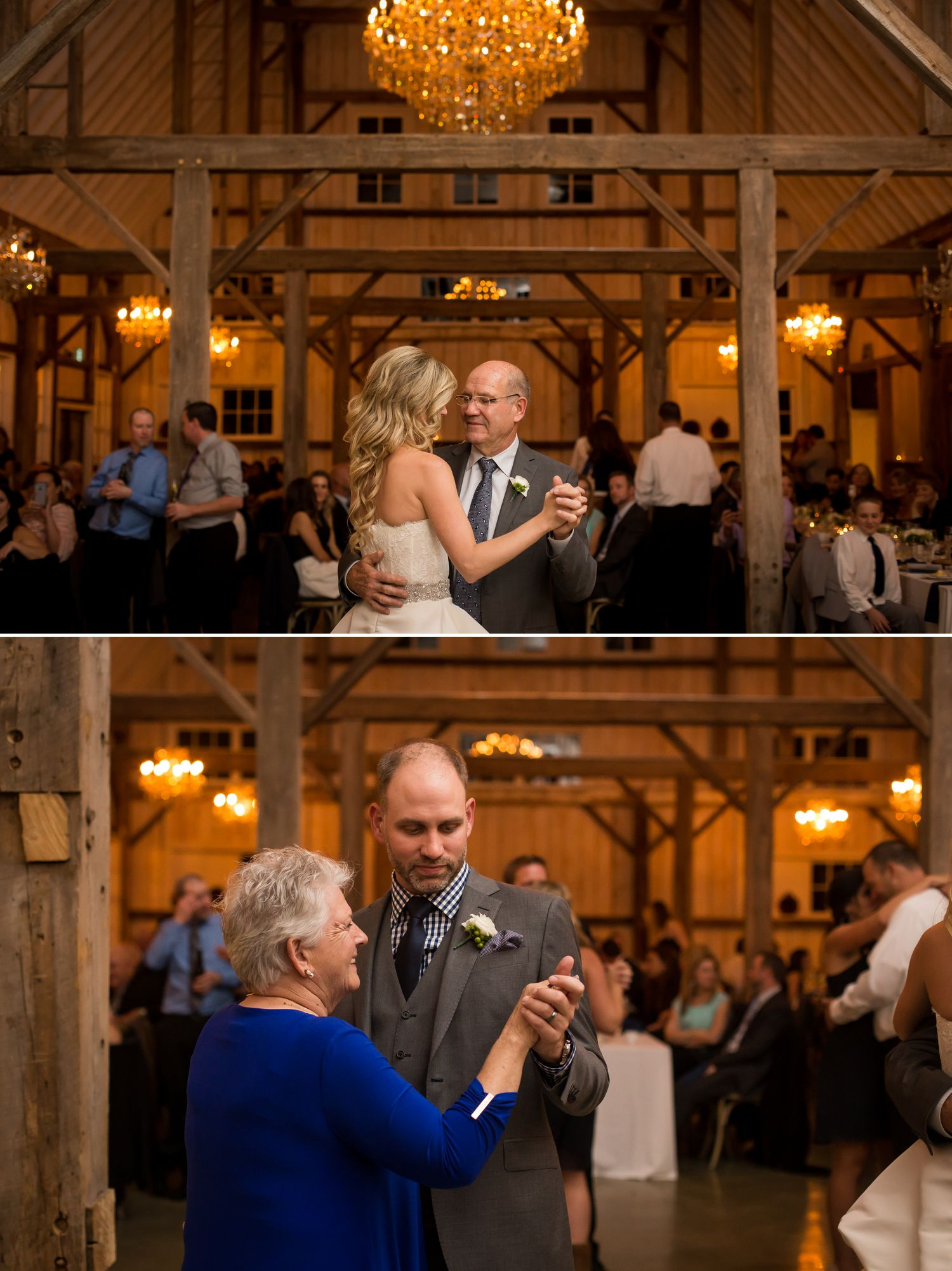 The bride and groom during their first dances with their parents at the Stonefields Wedding Reception