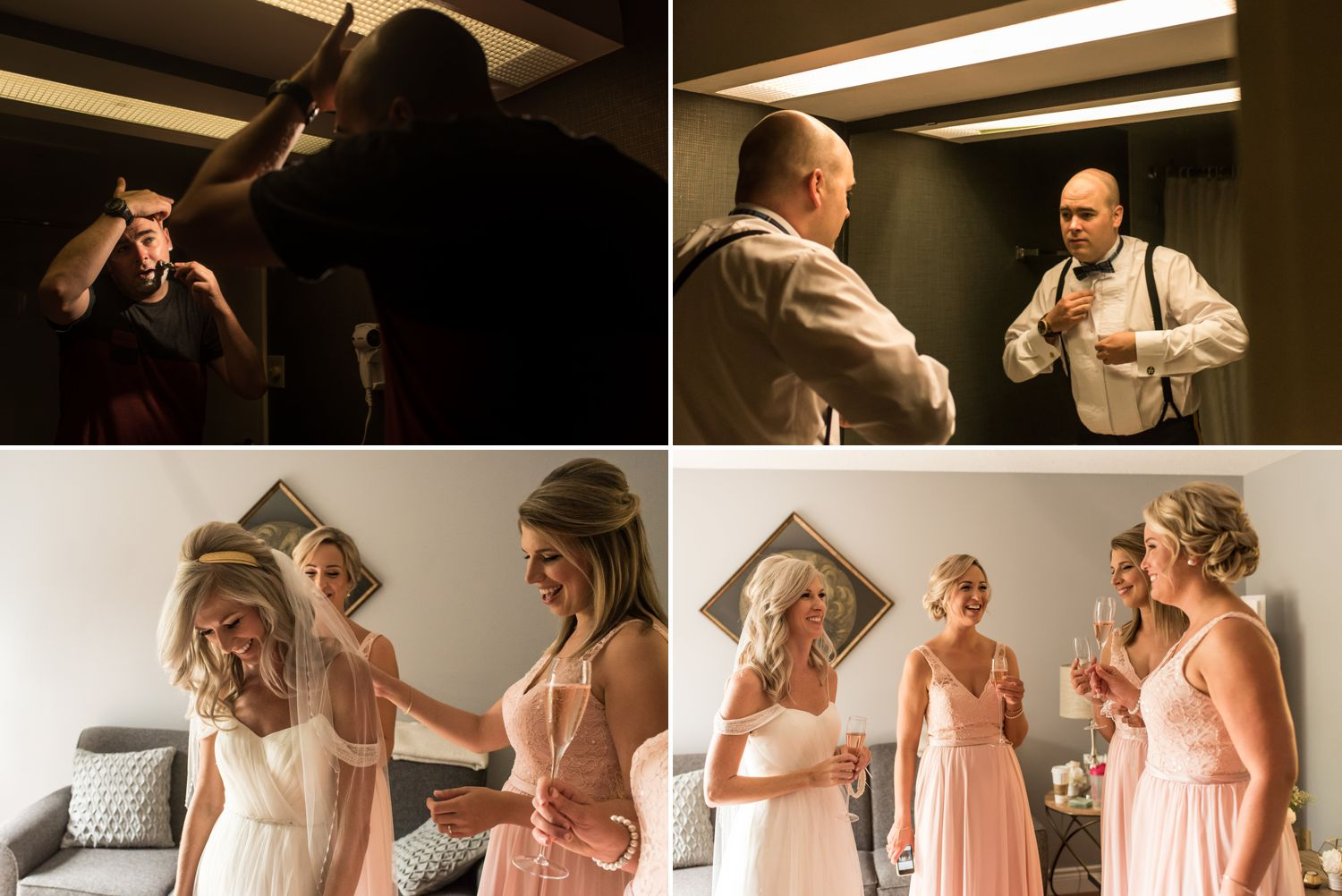 bride and groom getting ready for an army mess wedding in ottawa ontario