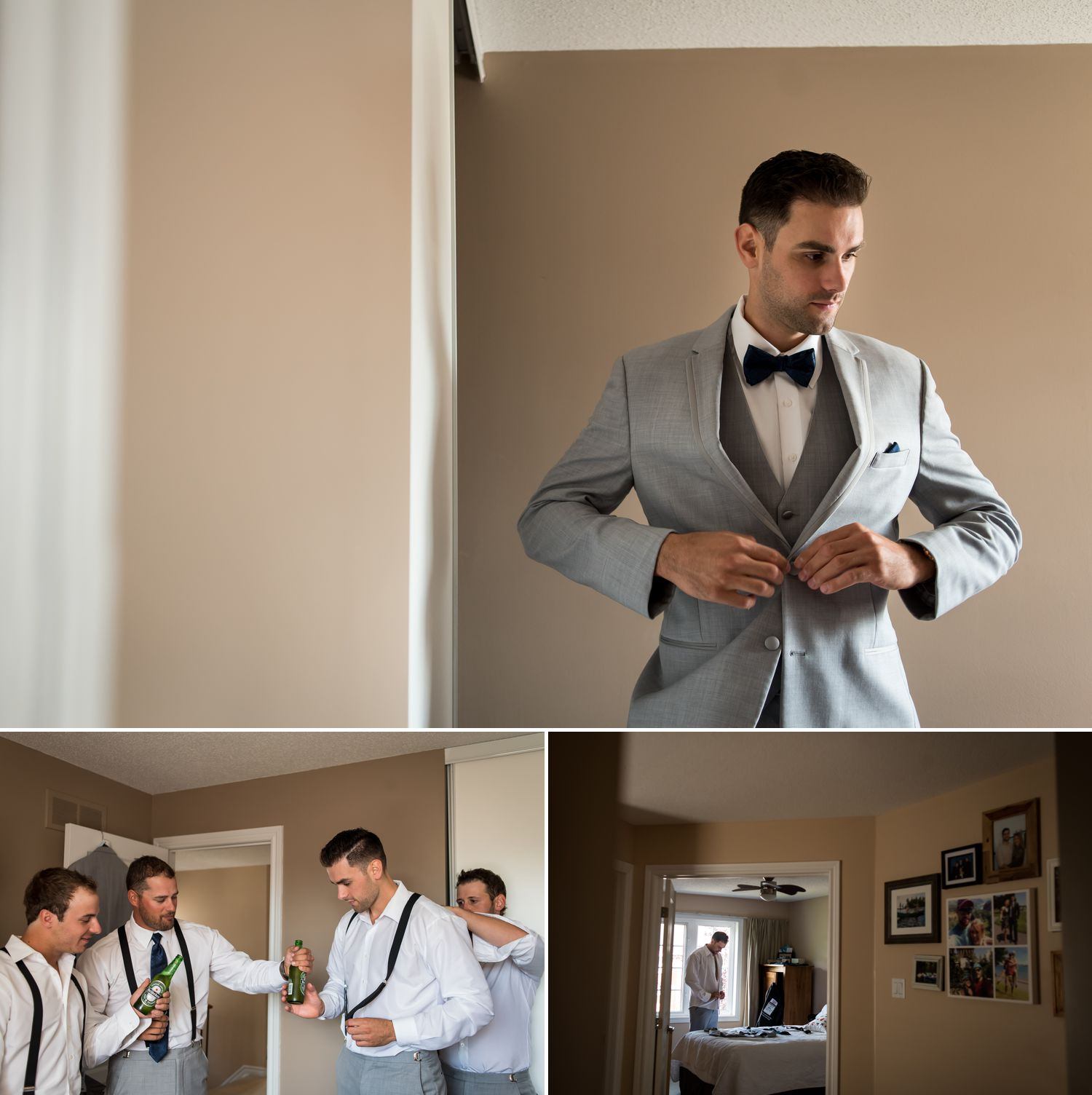 The groom and his groomsmen getting ready together at home in Ottawa, ON