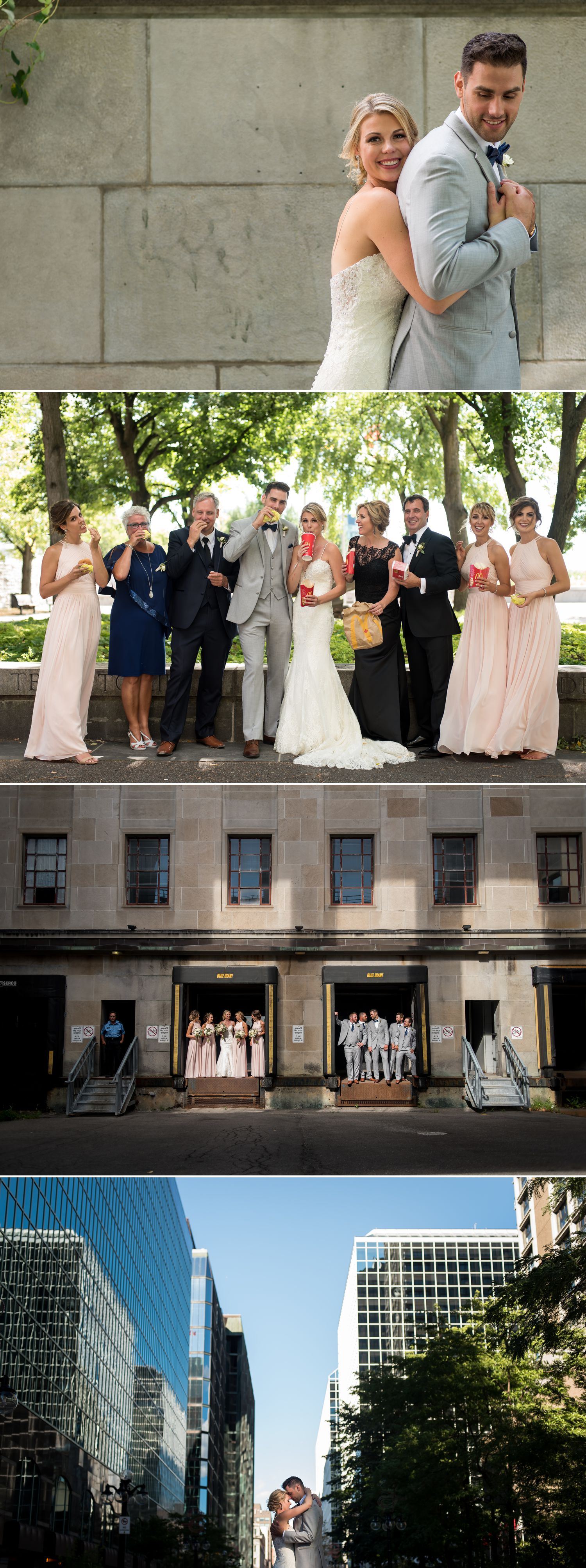Portraits of the bride and groom and their wedding party in a nearby park in downtown Ottawa