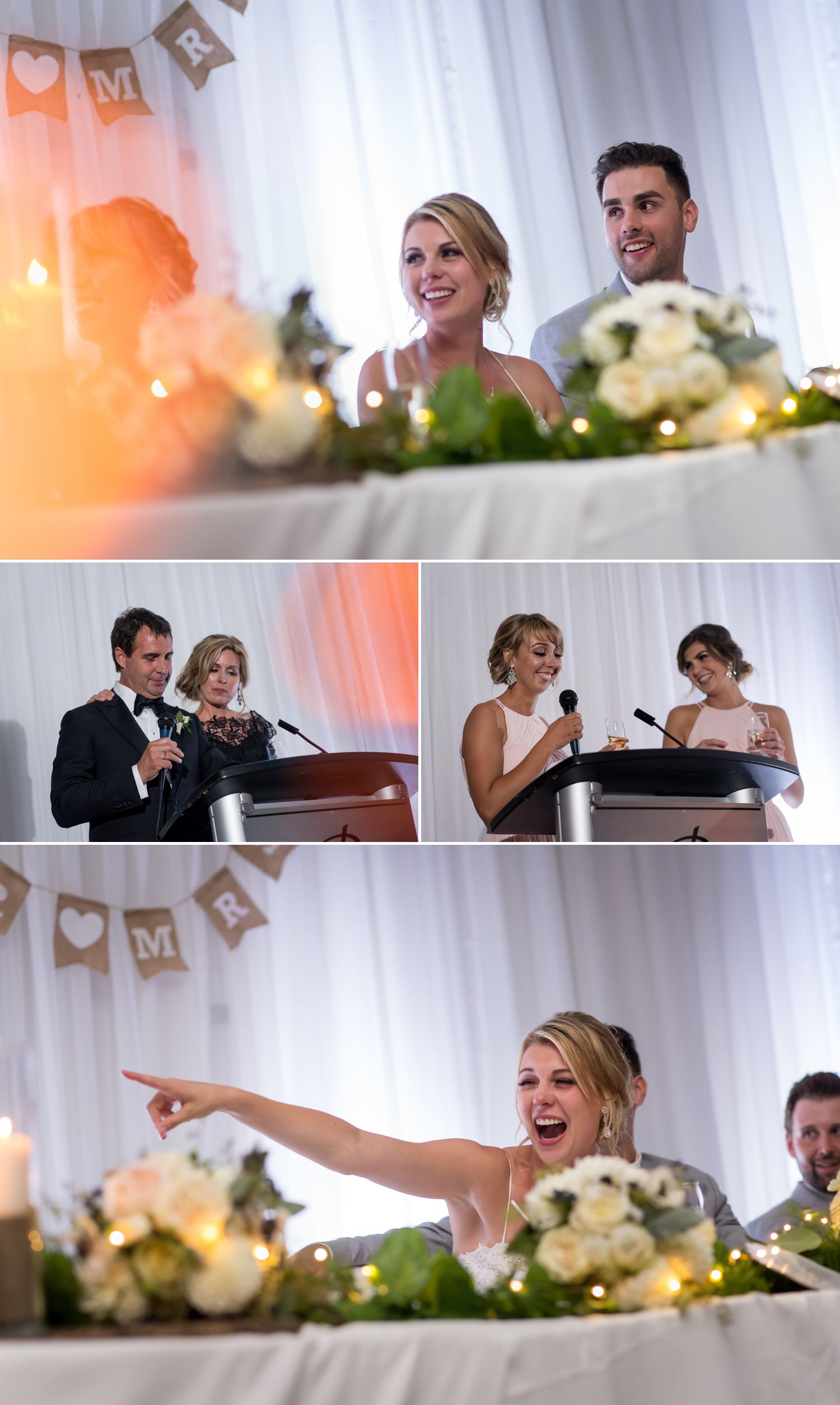 The bride and groom enjoying speeches during their wedding reception at The Delta Hotel in downtown Ottawa.