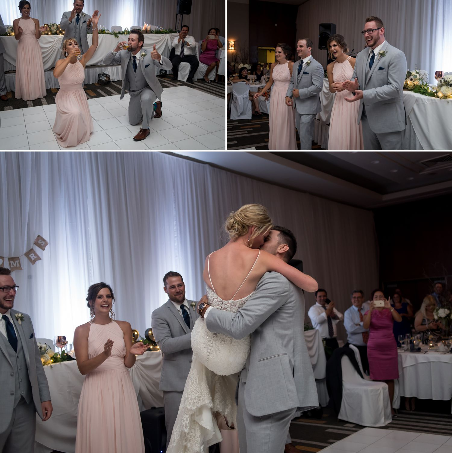 The bride and groom with their wedding party during their entrance to their wedding reception at The Delta Hotel in downtown Ottawa