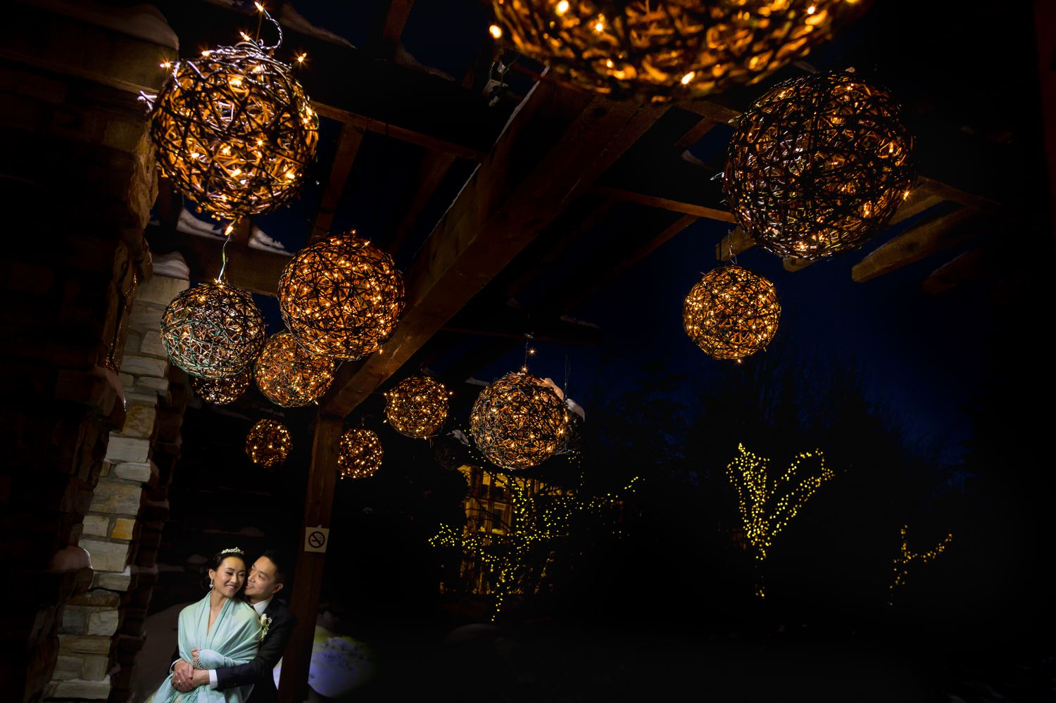 A night-time portrait of the bride and groom after their wedding at The Hilton Casino Lac Leamy
