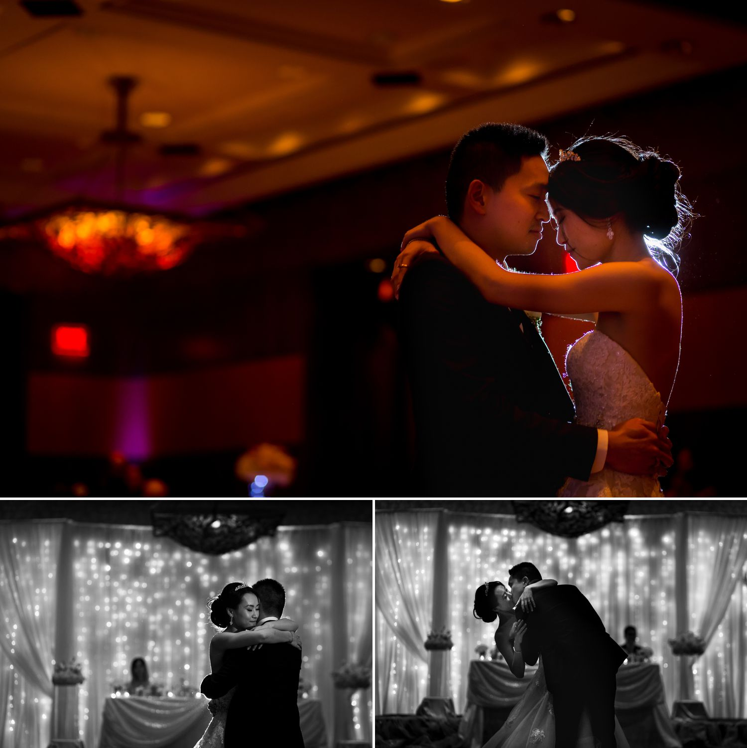 The bride and groom during their first dance during their wedding reception at The Hilton Casino Lac Leamy in Gatineau, Quebec