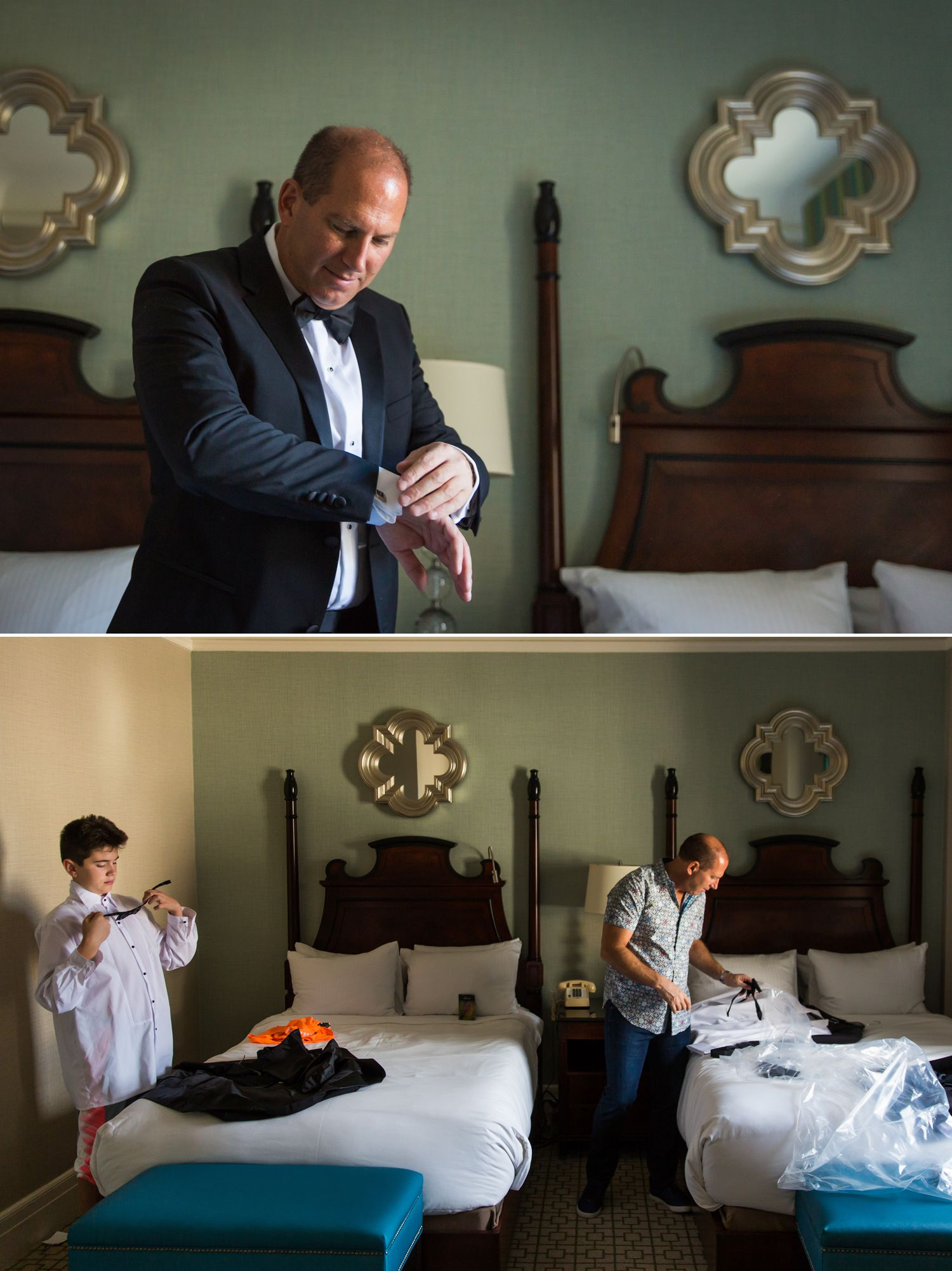 Groom getting ready for his wedding at le chateau laurier in ottawa