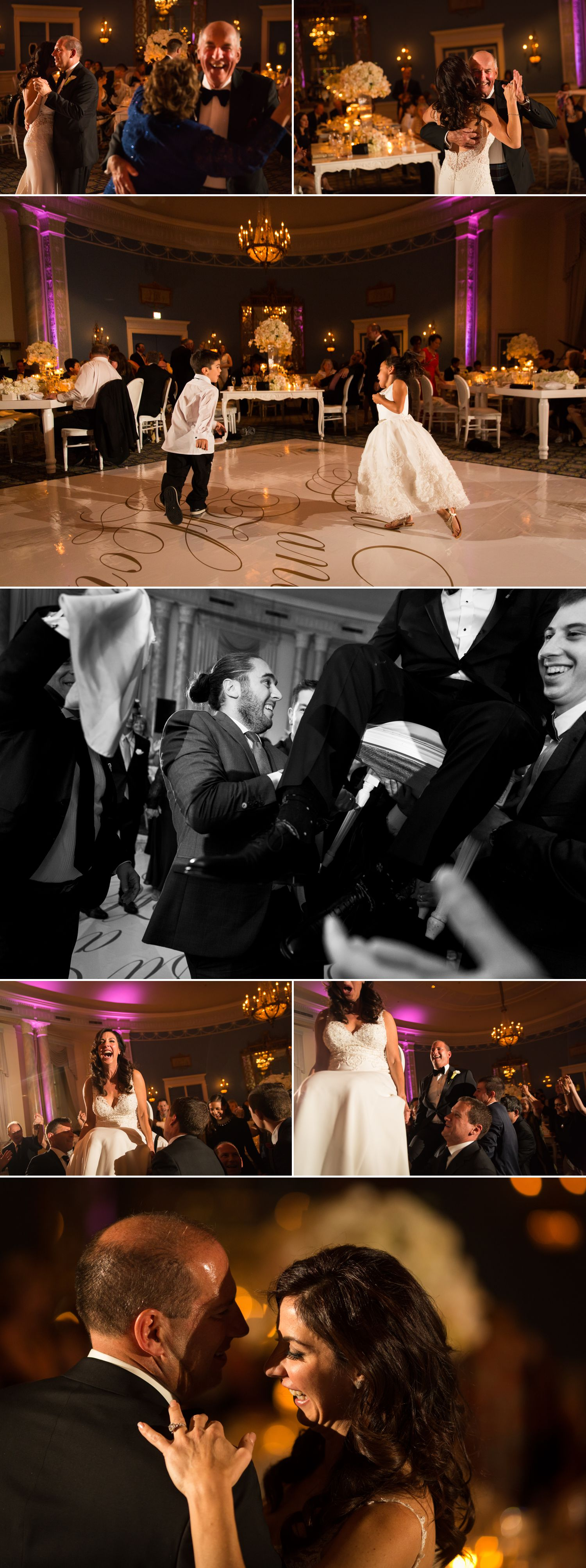 mother son and father of the bride dance in the adam room of the le chateau laurier in ottawa