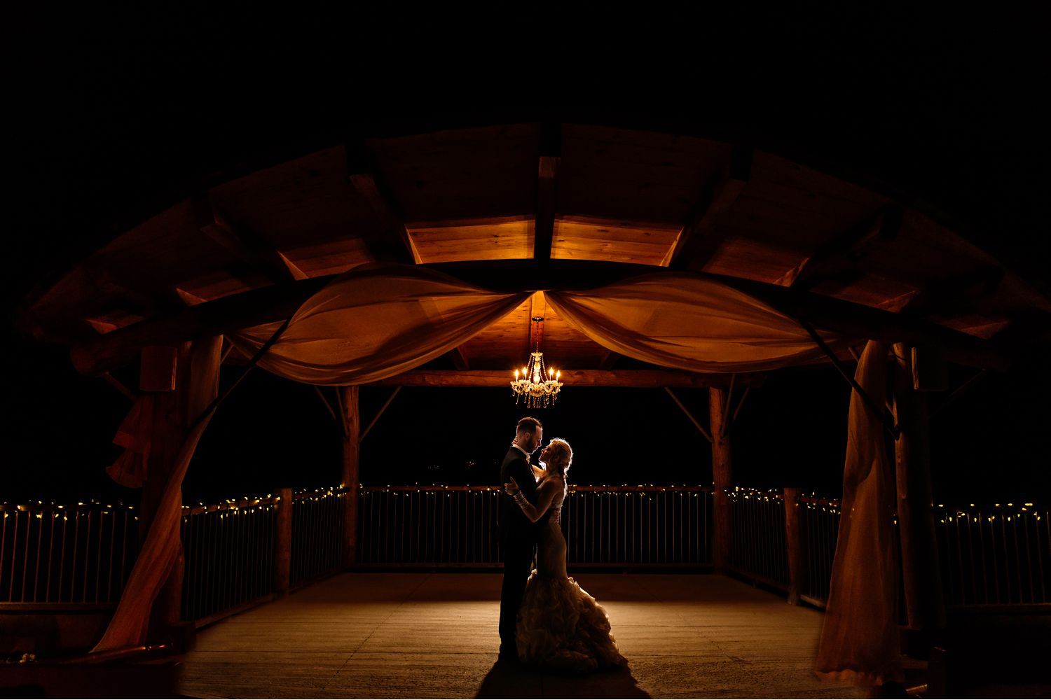Nighttime Portrait of Bride and Groom during a Le Belevedere Wedding in Wakefield