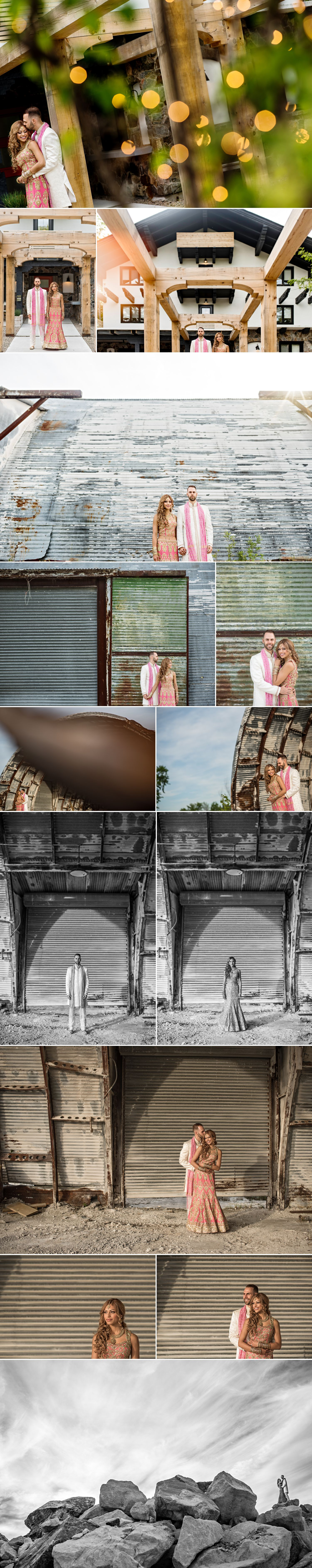 bride and groom portraits at an abandon garage in wakefield at le belvedere wedding