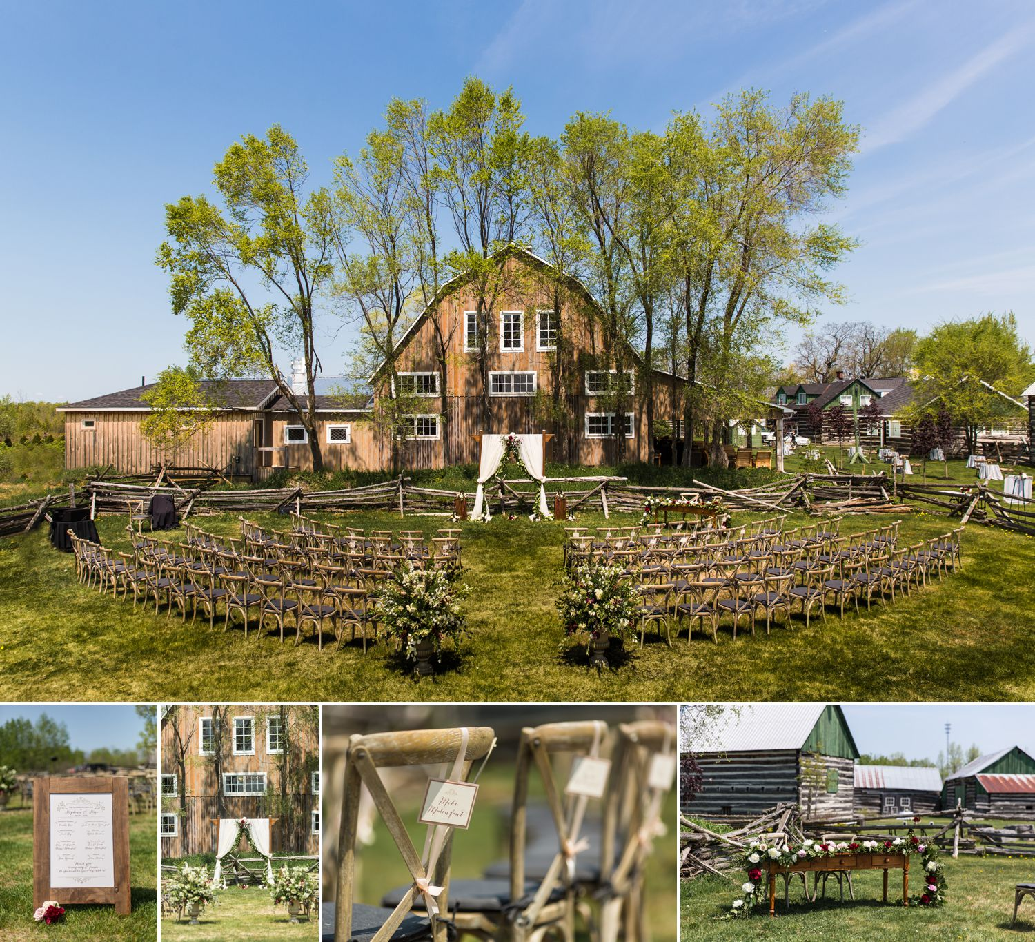 wedding ceremony details at a wedding at stonefields carleton place ontario