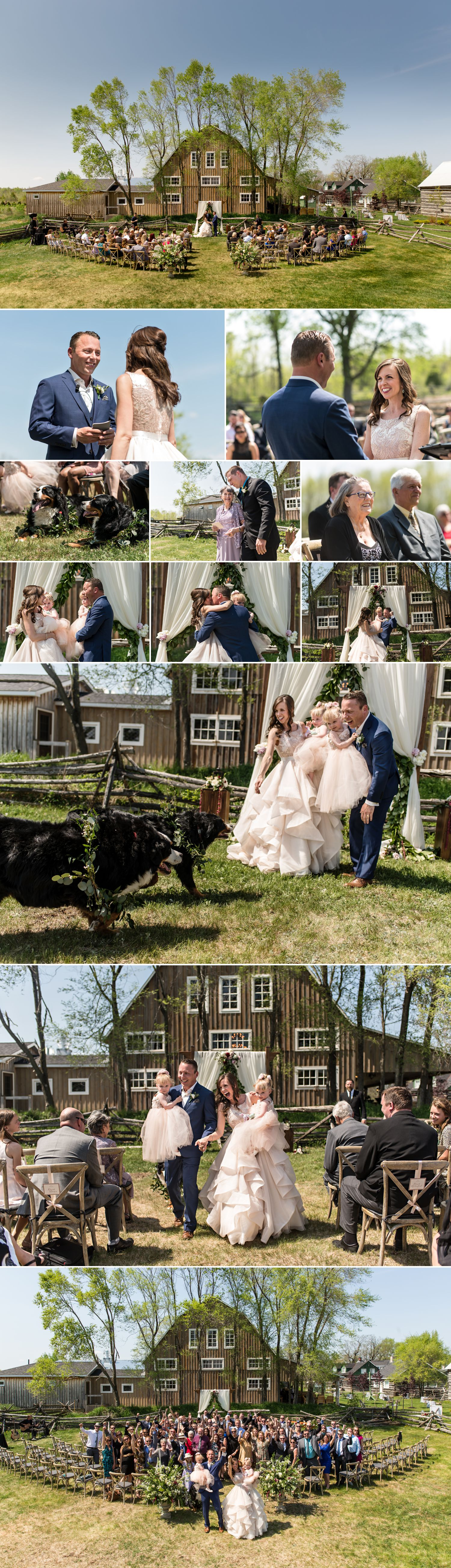 candid wedding ceremony moments at a wedding at stonefields carleton place ontario