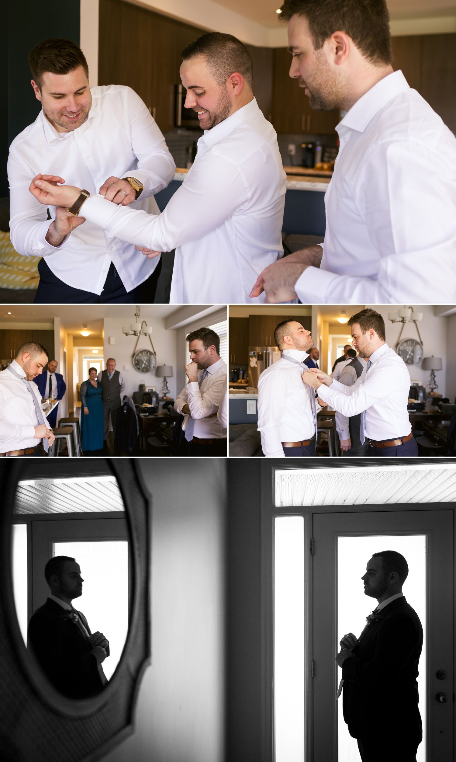 The groom with his groomsmen getting ready before the wedding at their home in Ottawa