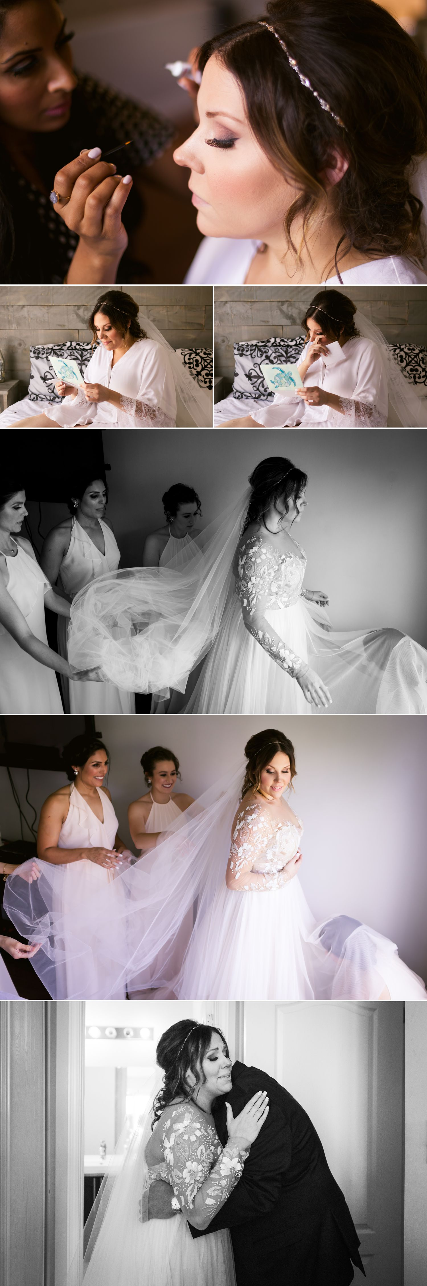The bride with her bridesmaids getting ready together at their home in Ottawa