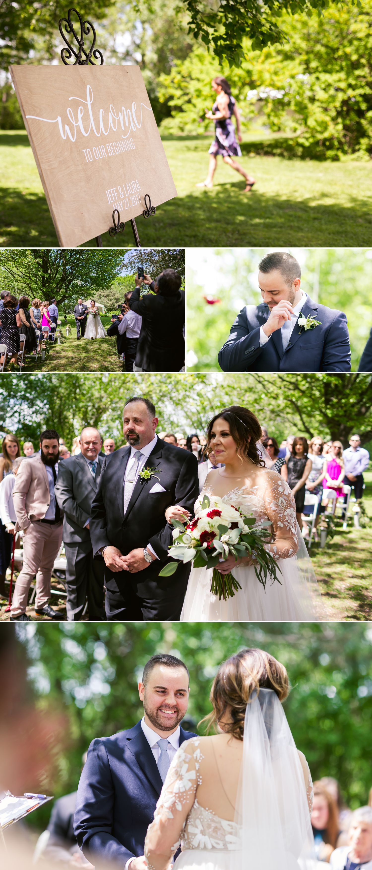 A spring wedding ceremony outside at Billings Estate in Ottawa