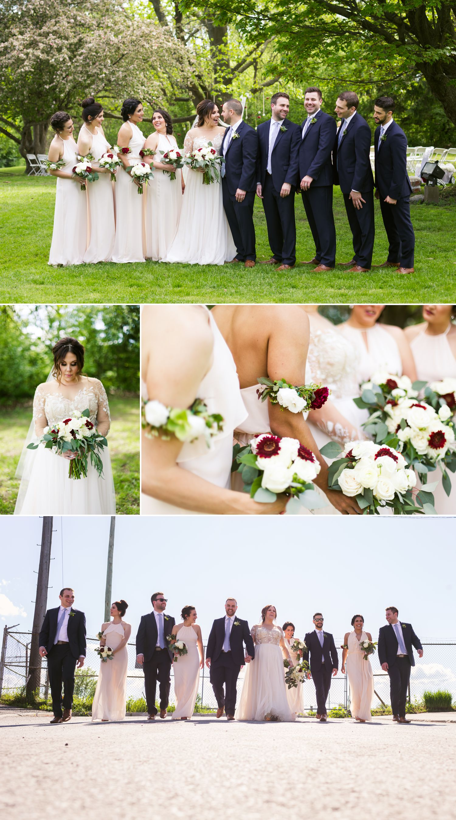 Portraits of the bride and groom with their wedding party outside at Billings Estate in Ottawa