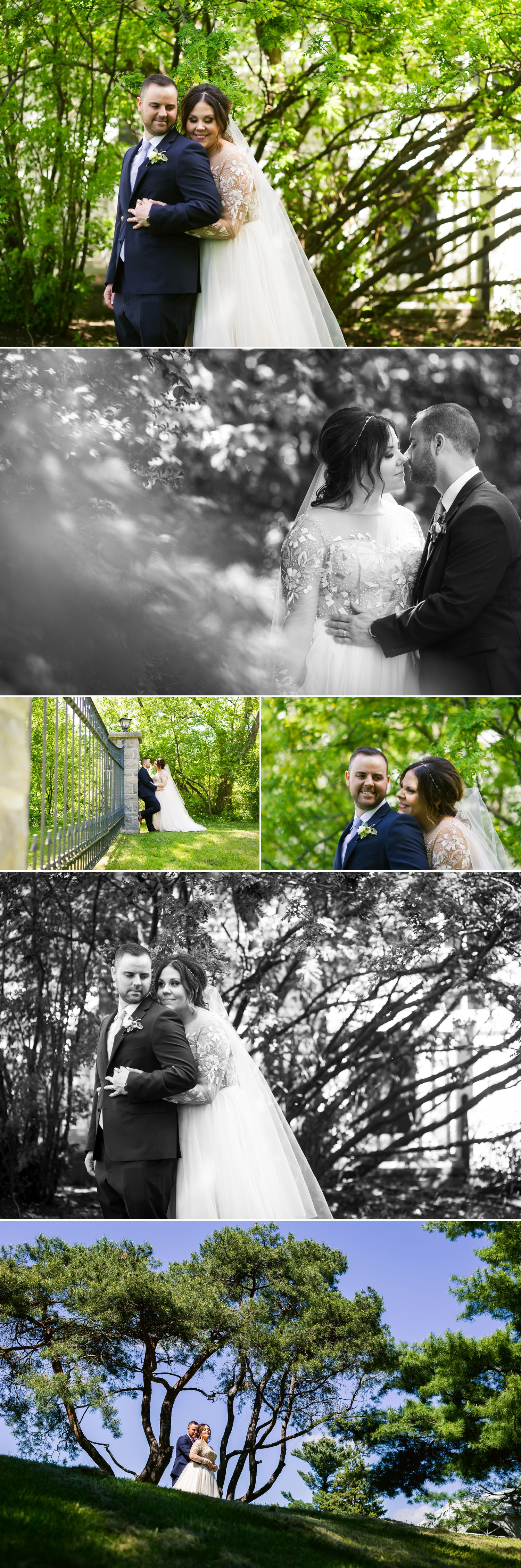 Portraits of the bride and groom after their spring wedding at Billings Estate in Ottawa