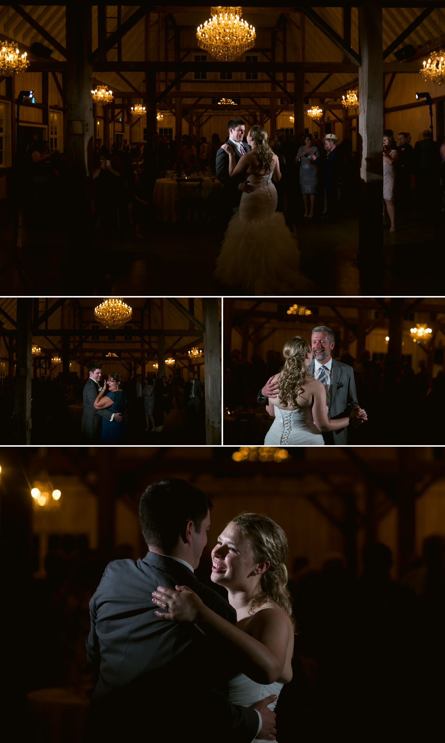 The bride and groom during their first dances together inside the Stonefields Loft