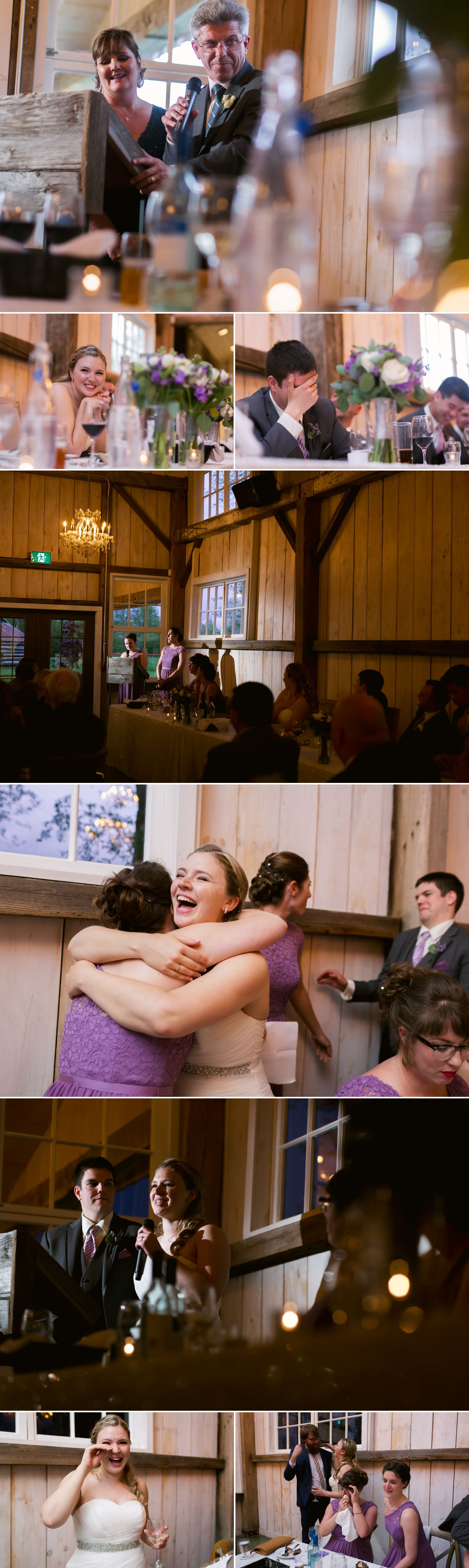 The bride and groom enjoying speeches by friends and family during their reception in the Stonefields loft