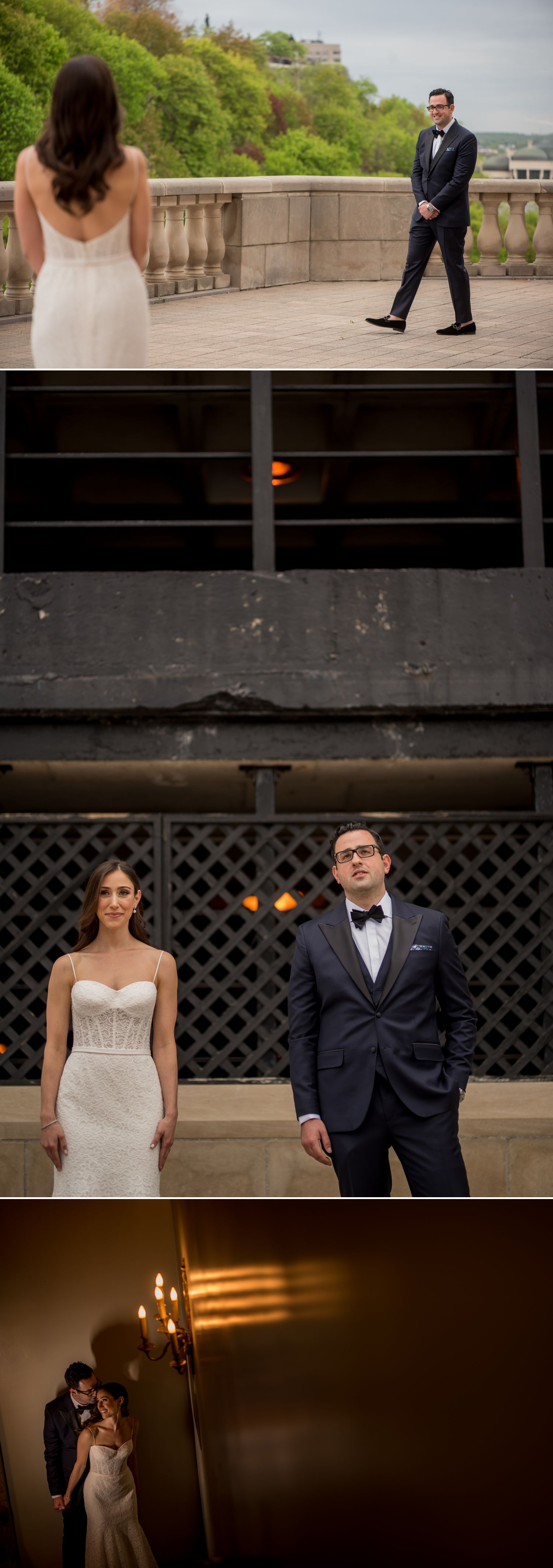 bride and groom have their reveal before wedding ceremony at the chateau laurier in ottawa ontario