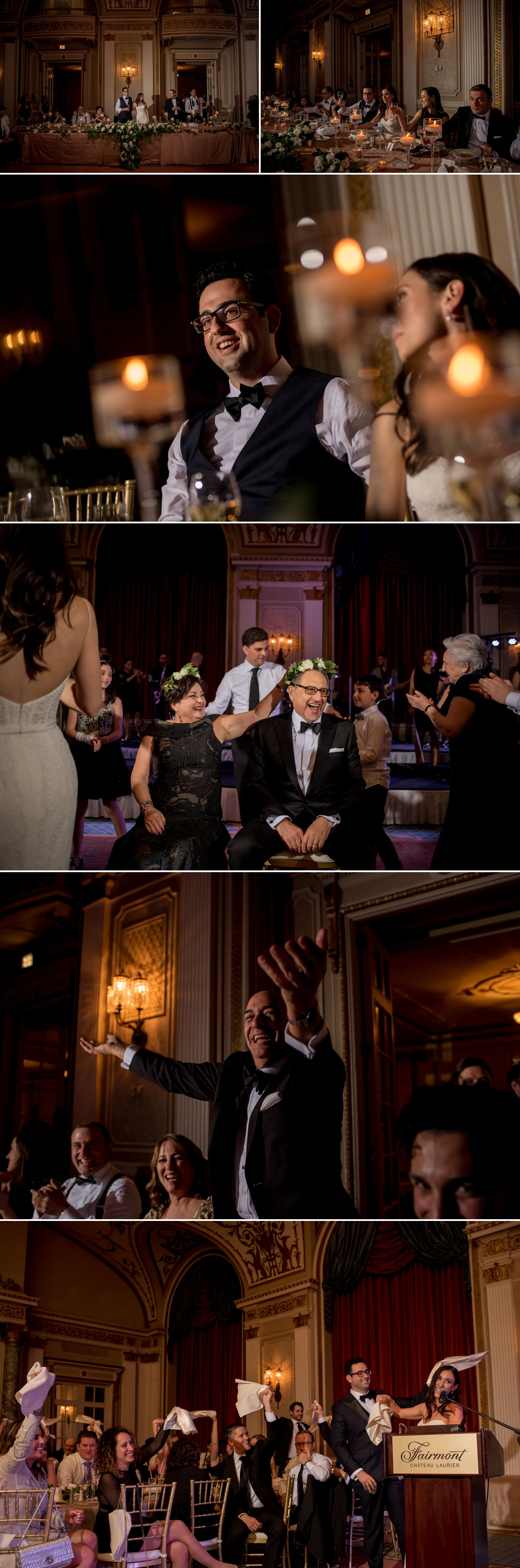 candid moments during a jewish wedding reception at the chateau laurier ballroom in ottawa ontario