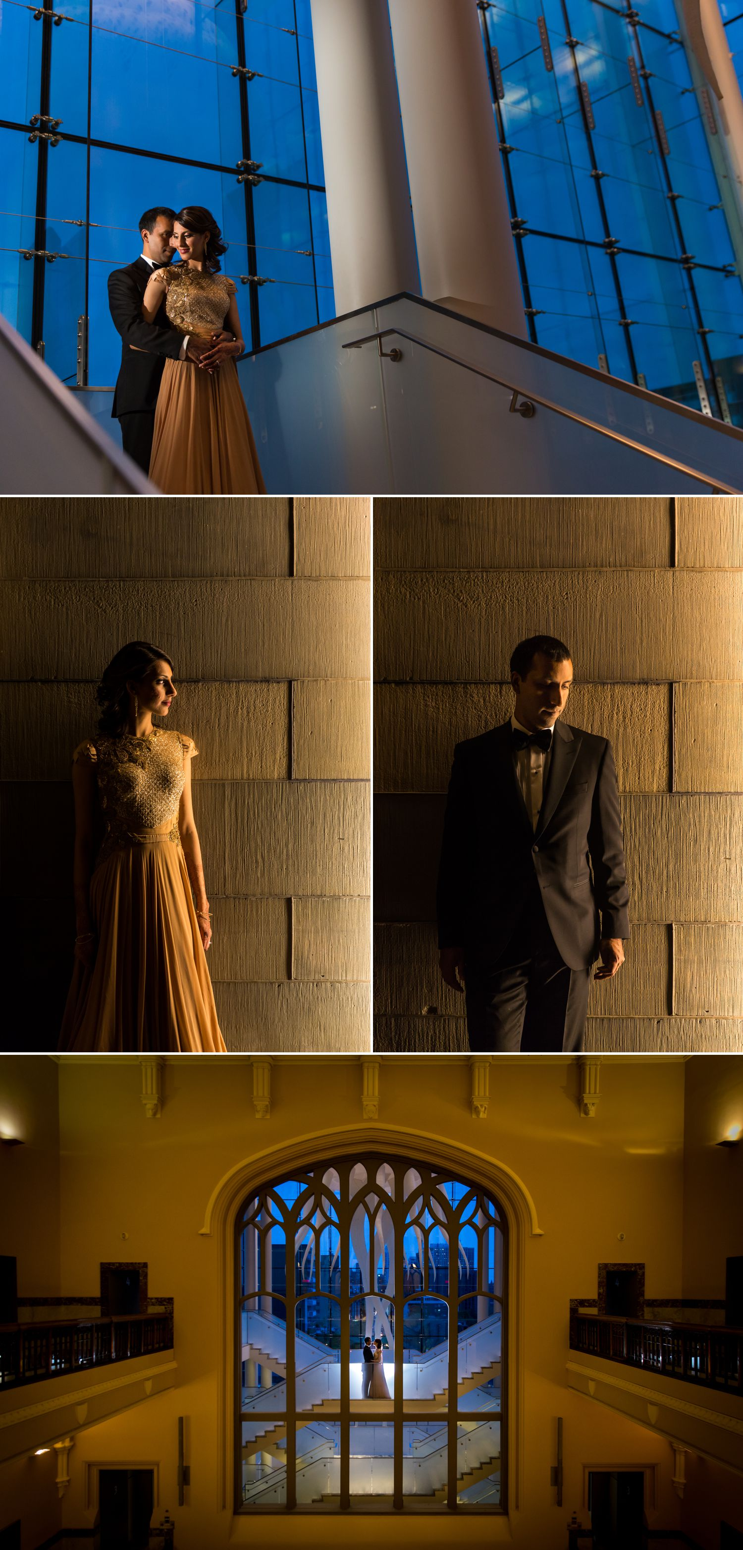 Night portraits of the bride and groom in their formal Indian reception clothes