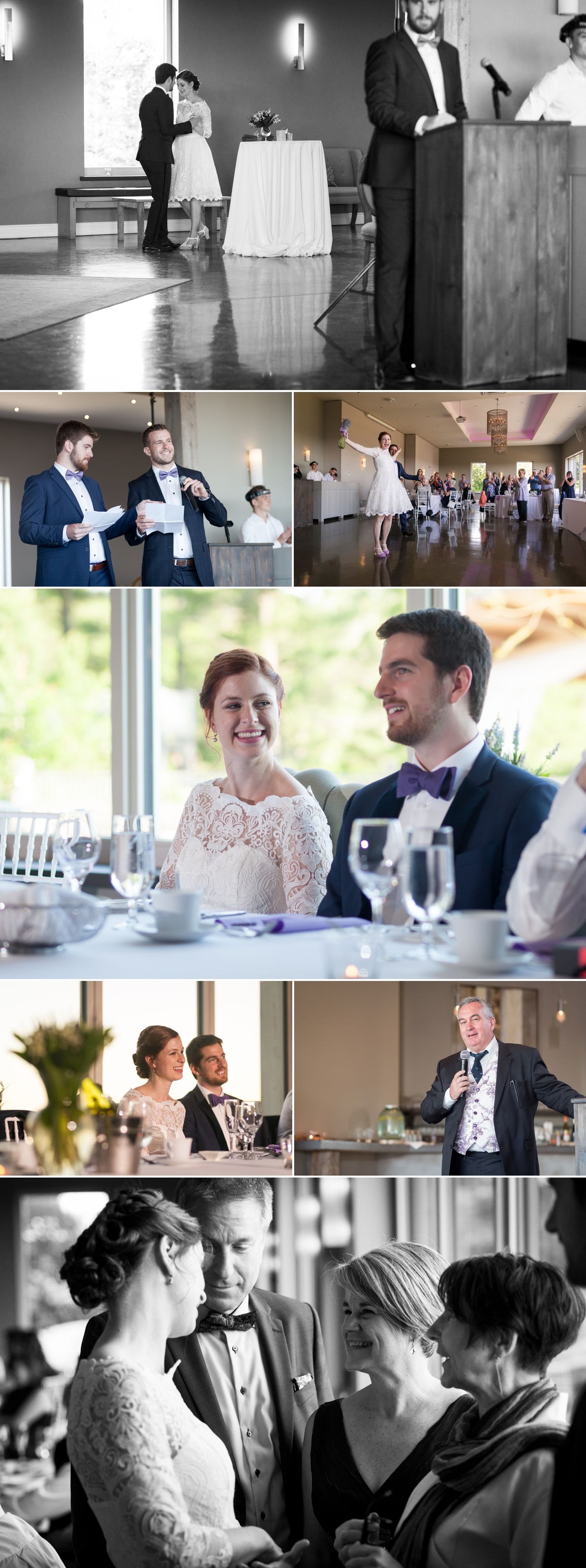 The bride and groom enjoying speeches by friends and family during their wedding reception at Le Belvedere