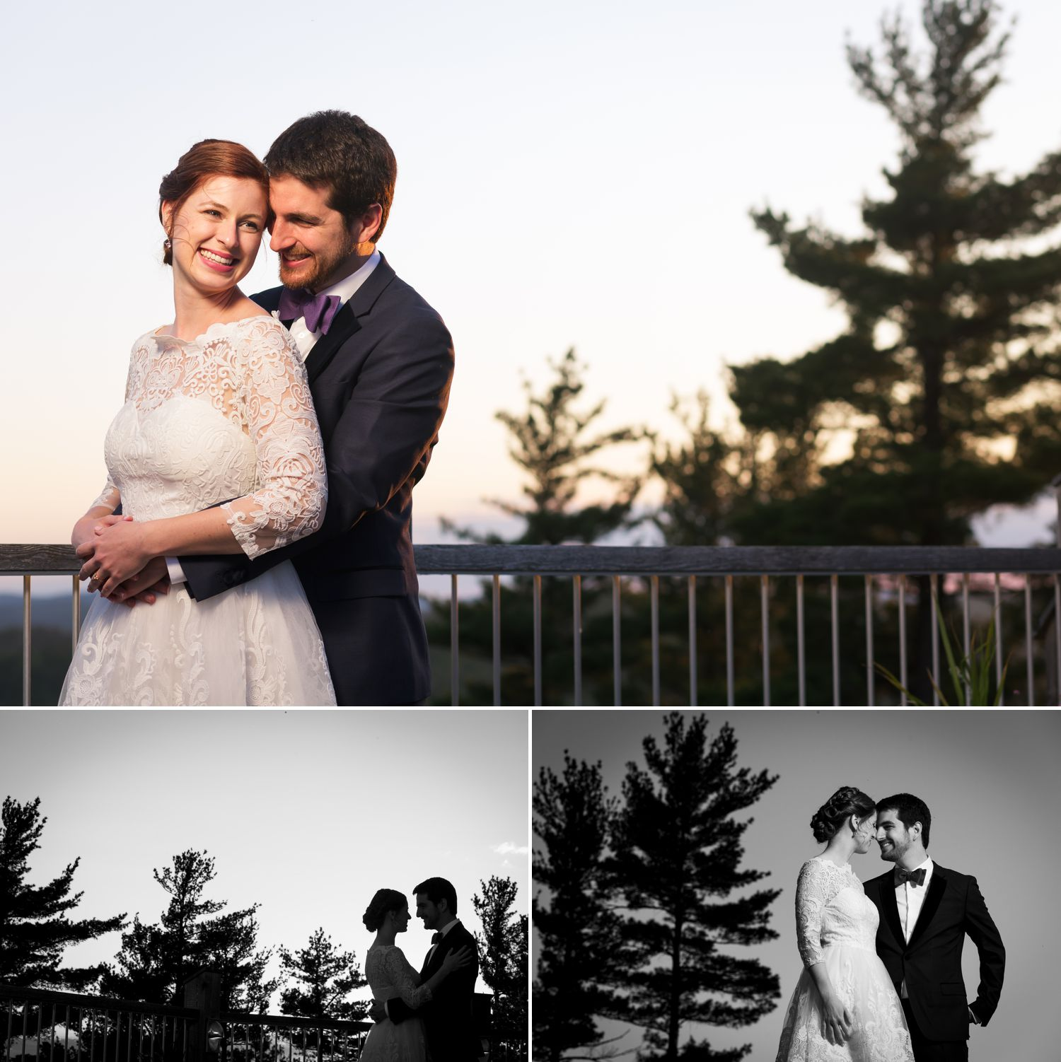Evening portraits of the bride and groom after their wedding ceremony at Le Belvedere in Wakefield, Quebec