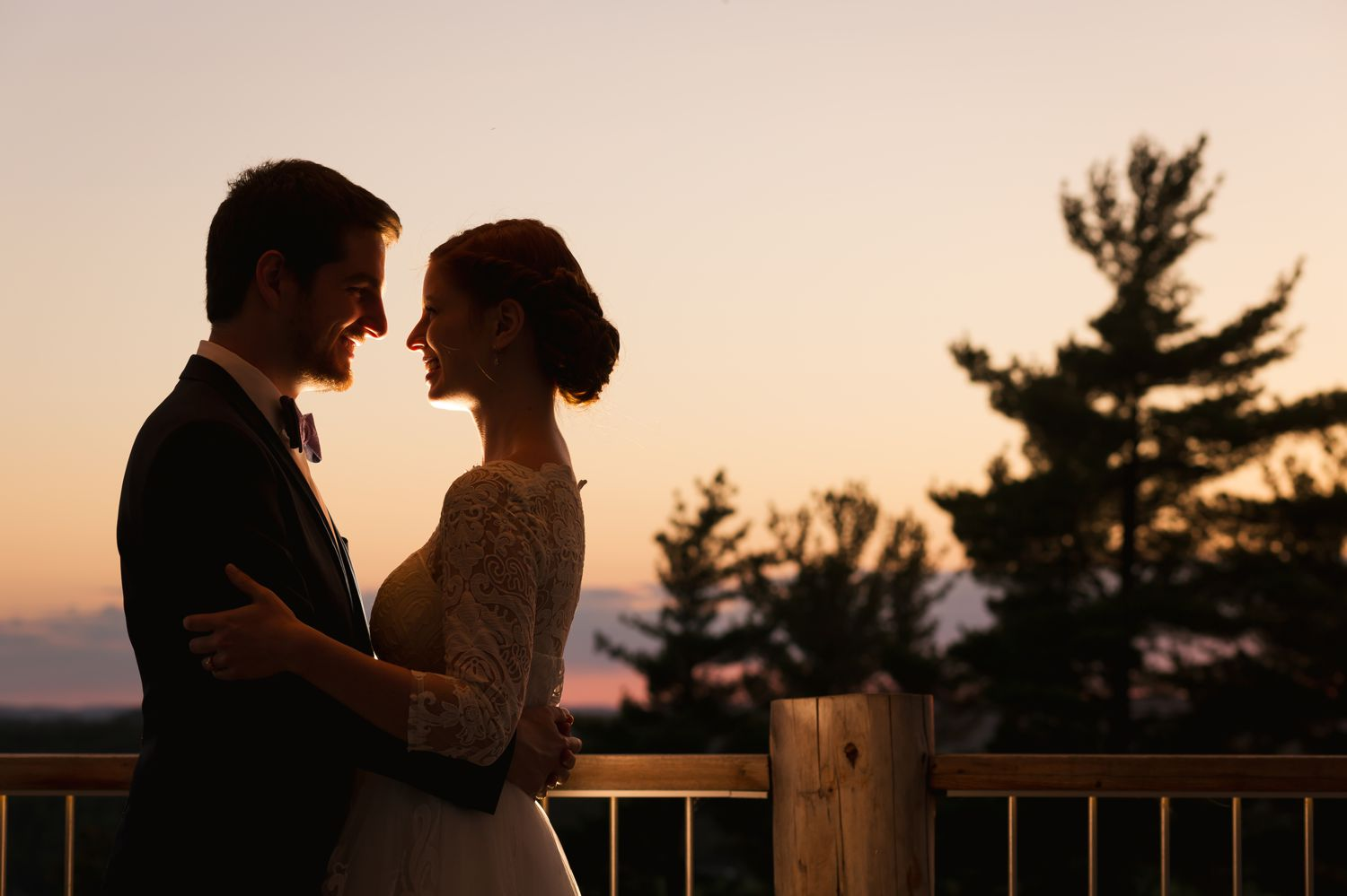 A night time portrait of the bride and groom after their wedding at Le Belvedere