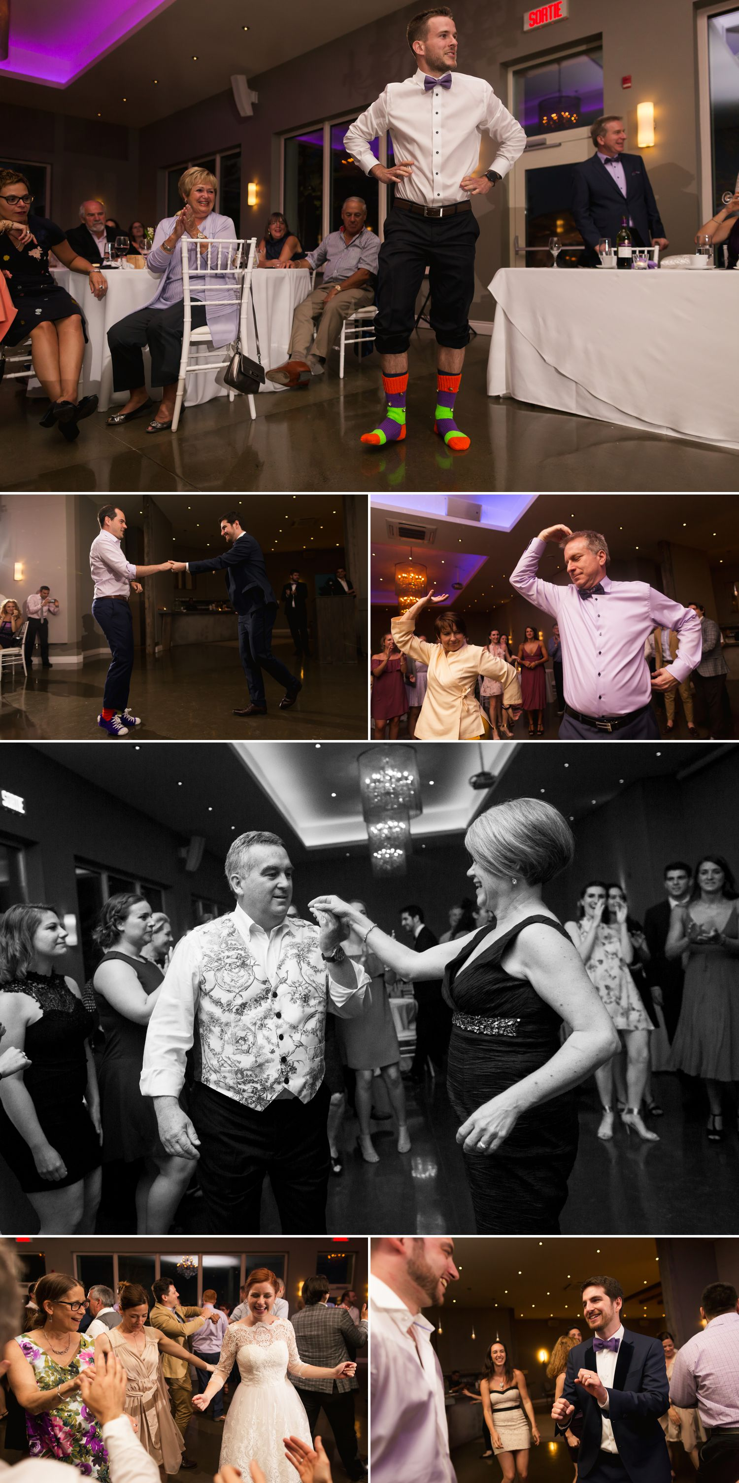 Guests dancing with the bride and groom during their wedding reception at Le Belvedere