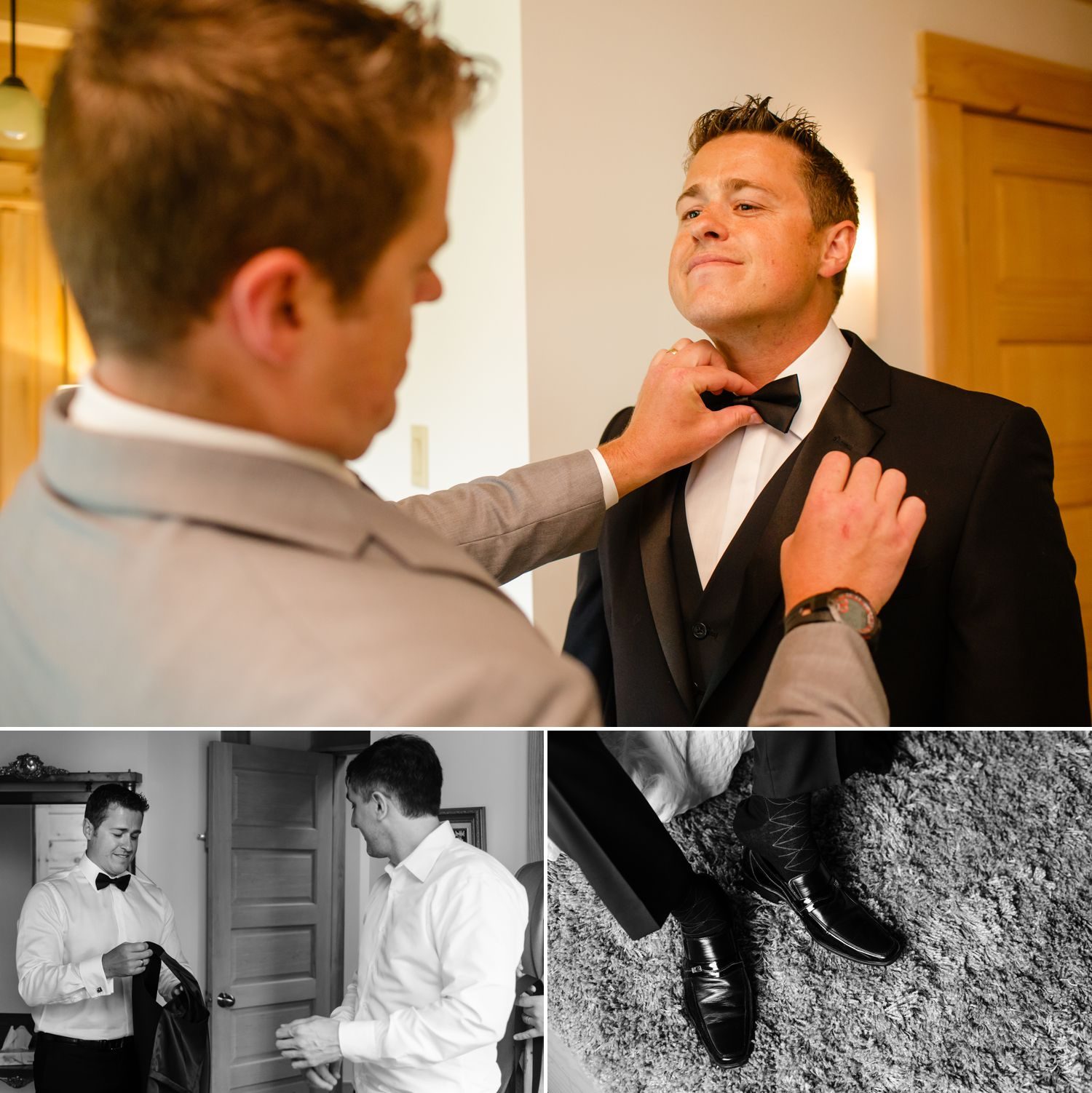 Groom getting ready at Le Belvedere