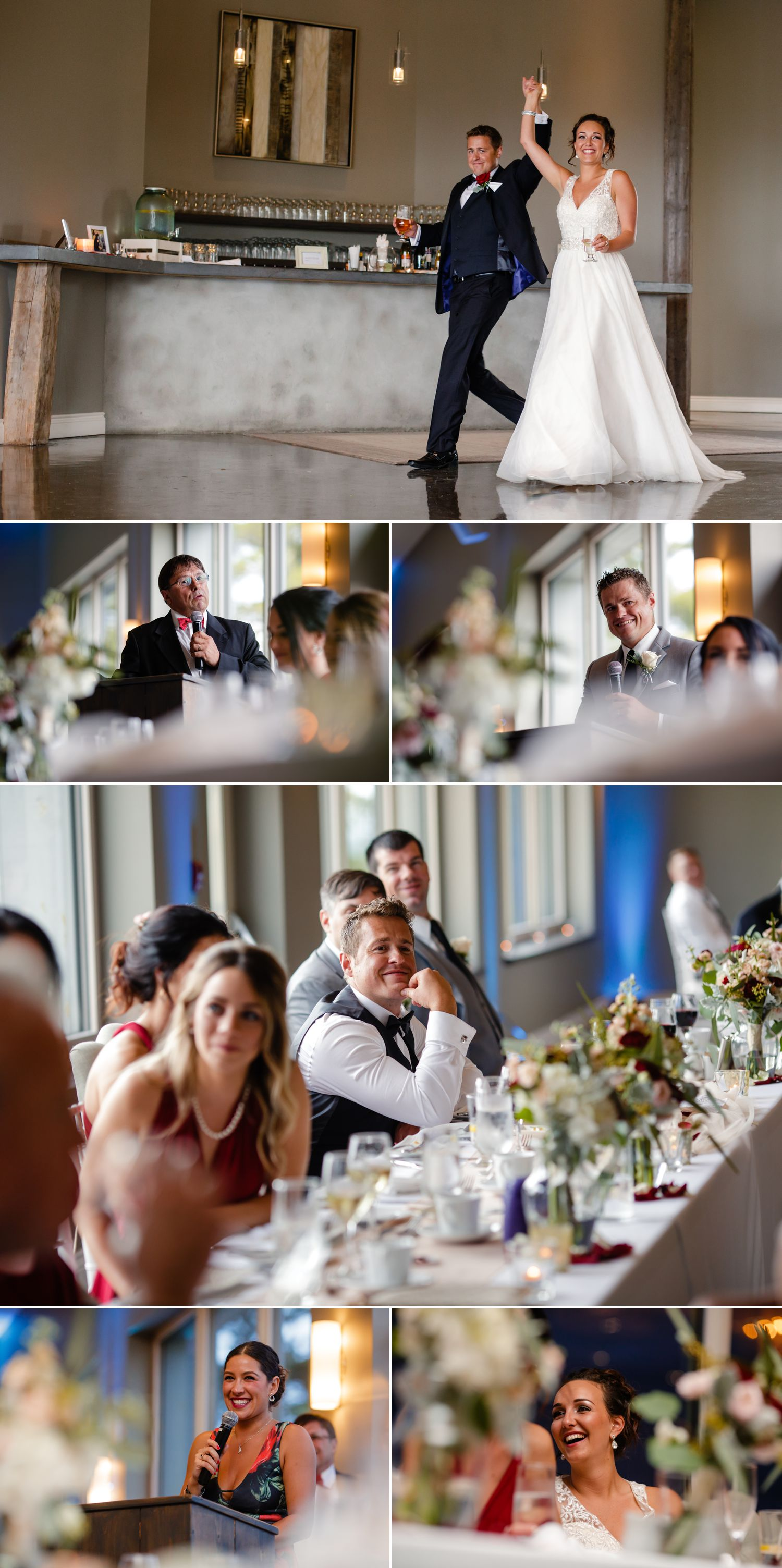 A wedding reception and speeches at Le Belvedere in Wakefield, QC