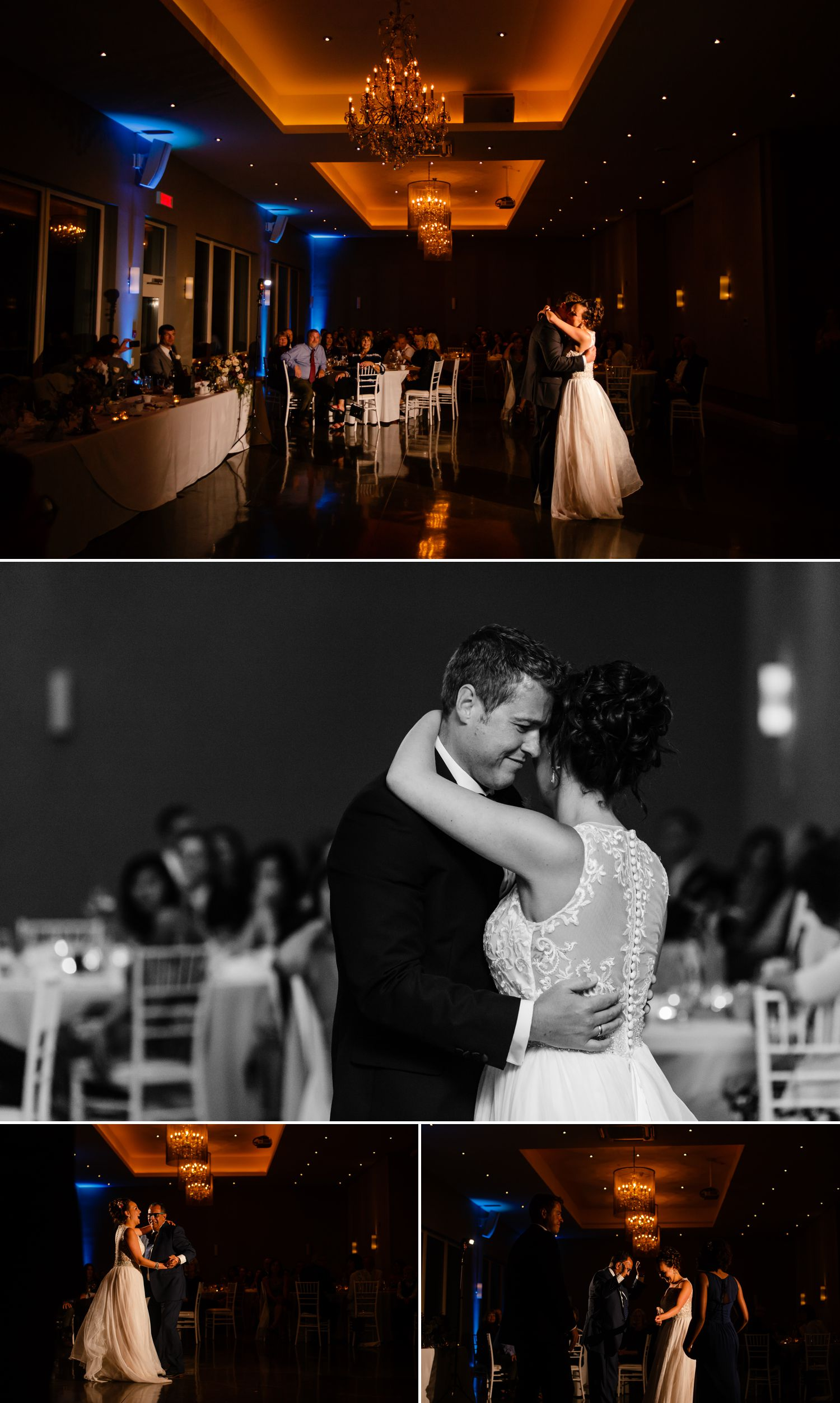 The bride and groom during their first dance at their wedding reception at Le Belvedere