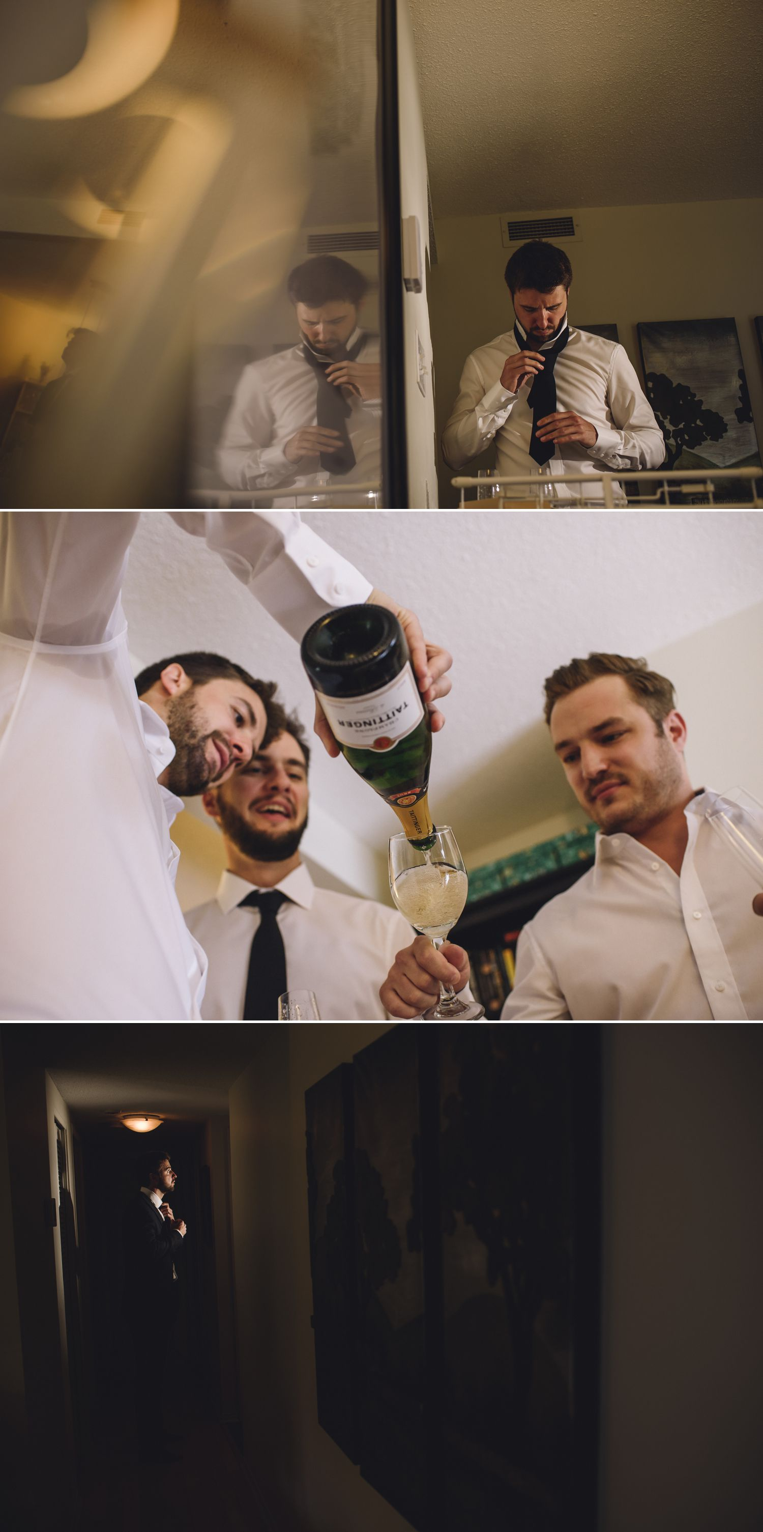 A groom getting ready with his groomsmen at his home in Ottawa