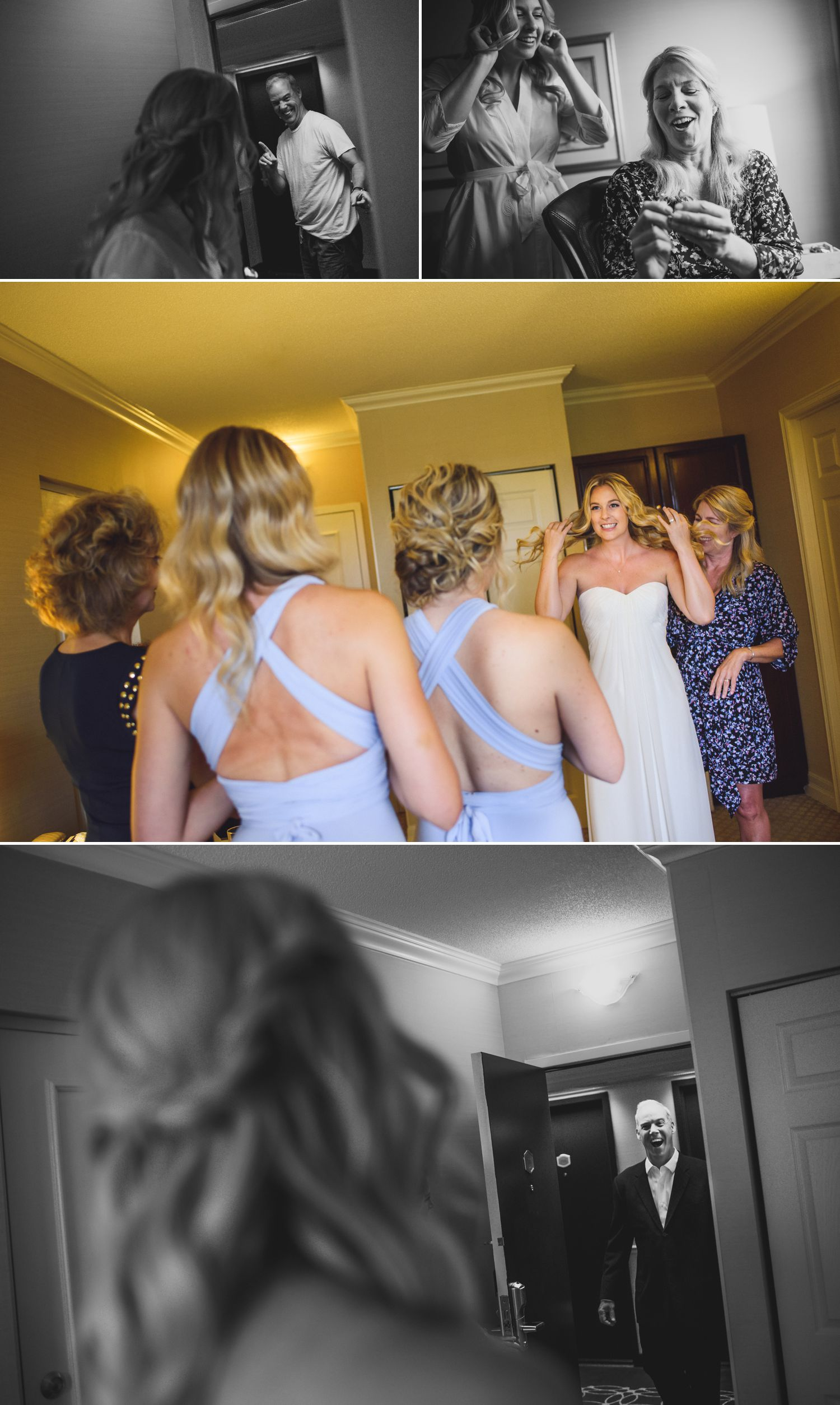 The bride with her bridesmaids and family getting ready at a Ottawa hotel
