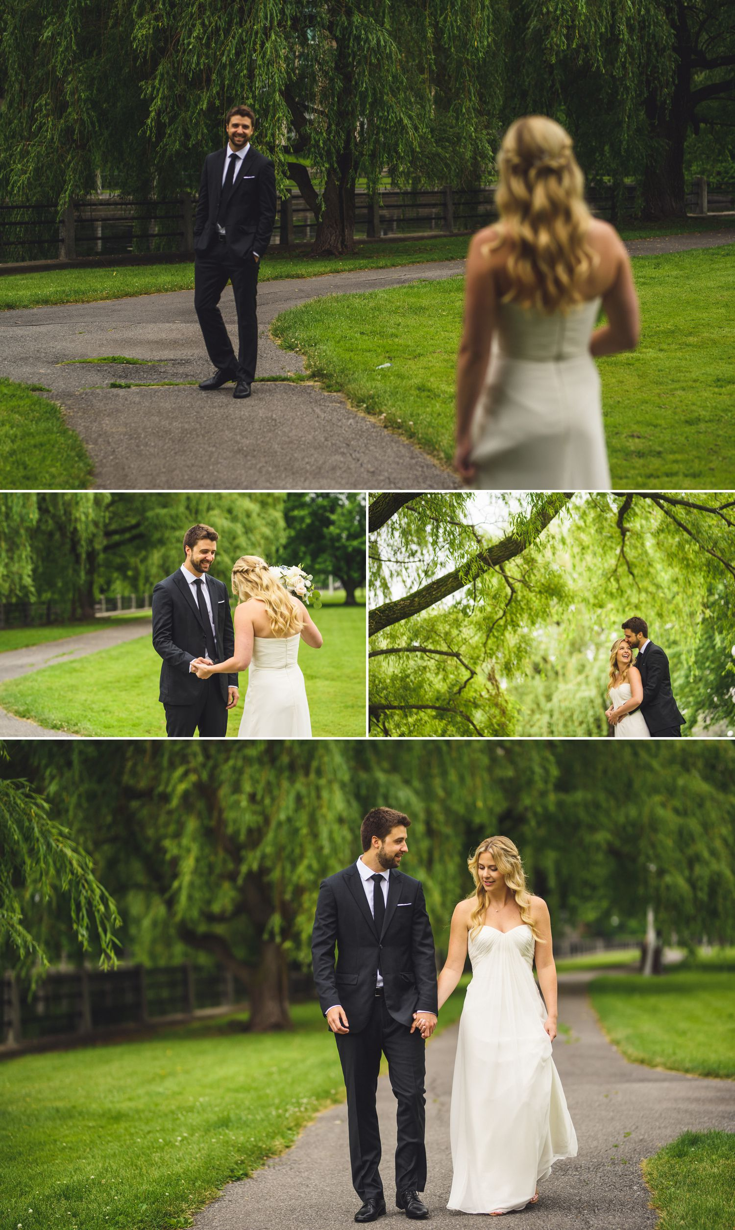 The bride and groom during their 'First Look' at Linden Terrace by the Rideau Canal in Ottawa, ON