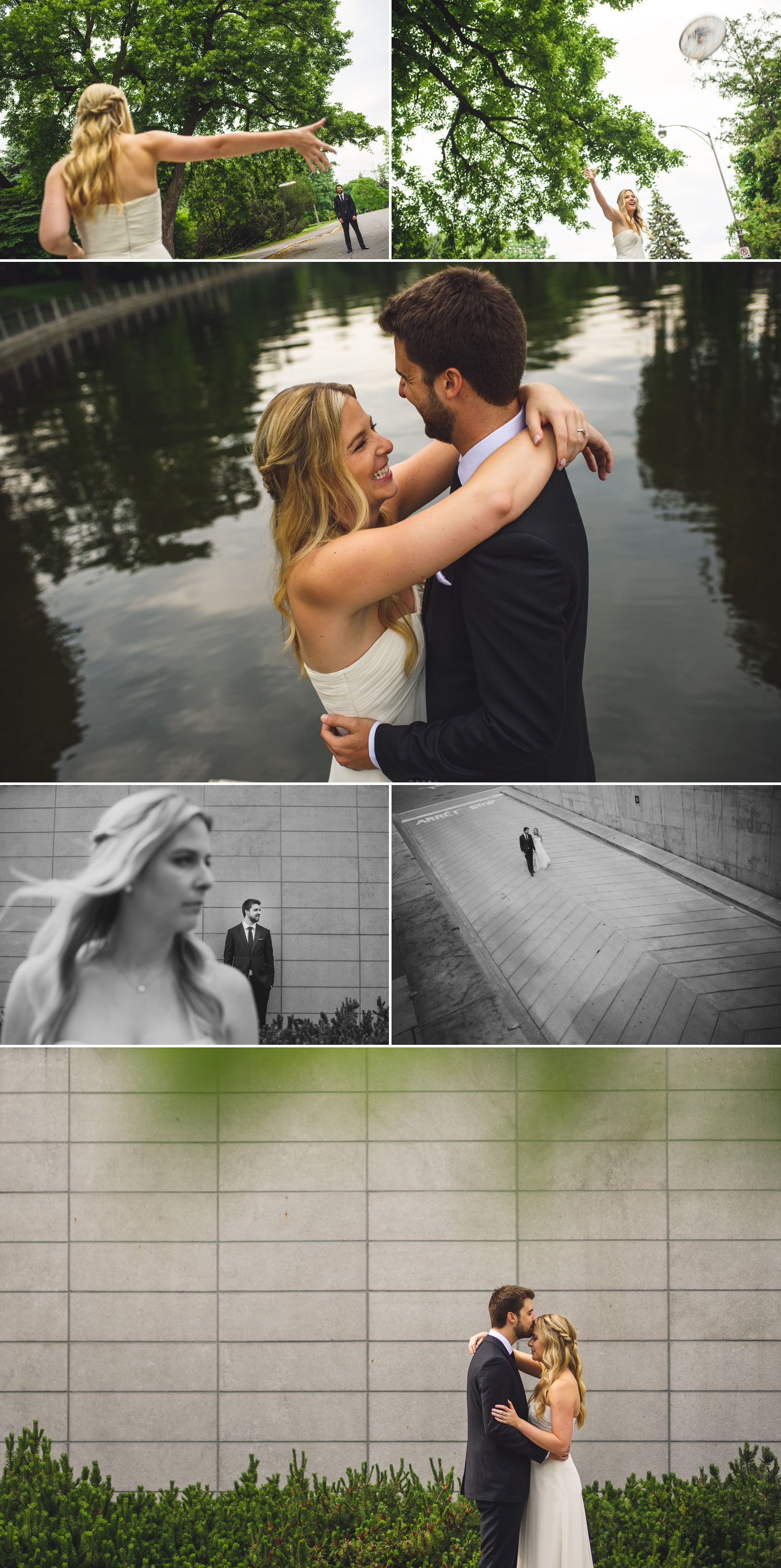 Portraits of the bride and groom outside the Museum of Nature in downtown Ottawa