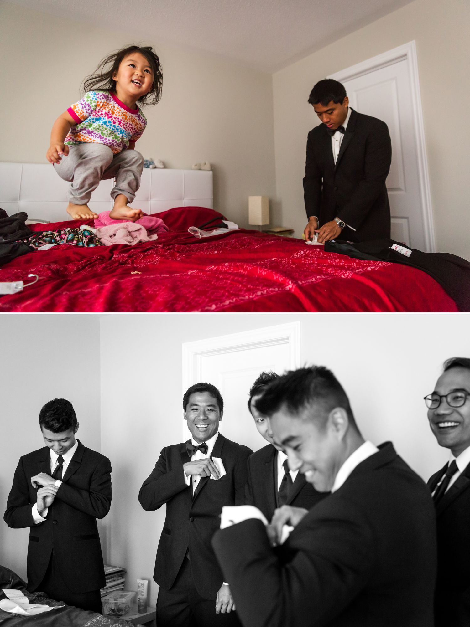 The groom with his groomsmen getting ready at their home in Ottawa