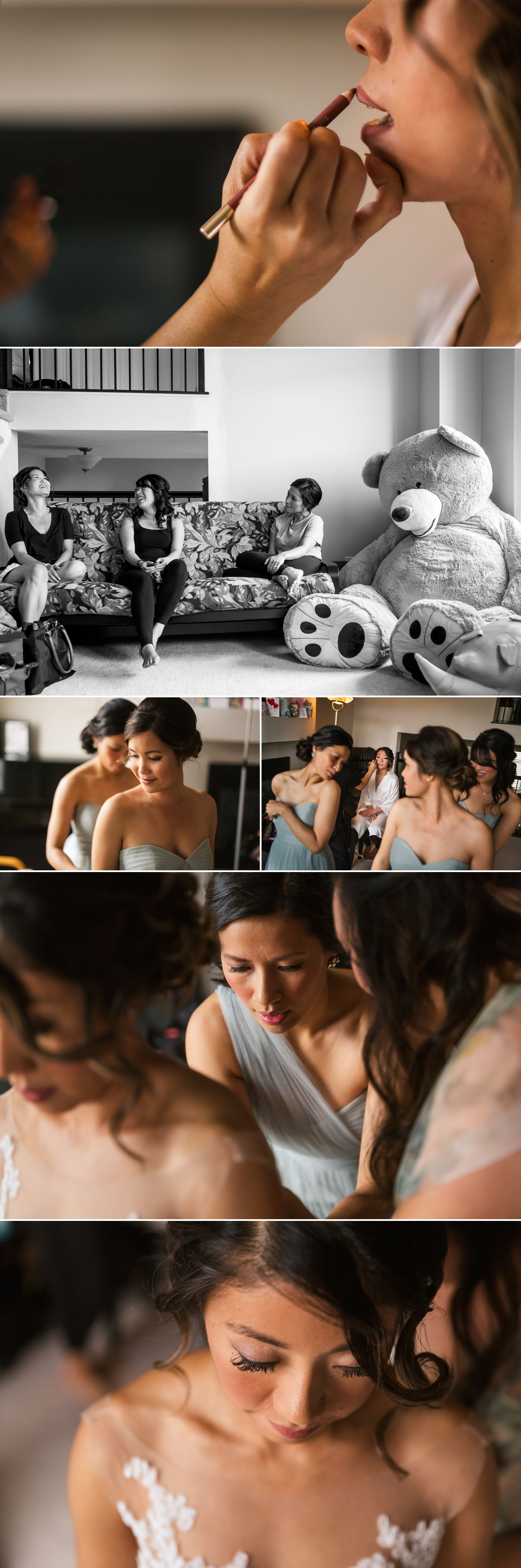 The bride with her bridemaids getting ready at her home in Ottawa