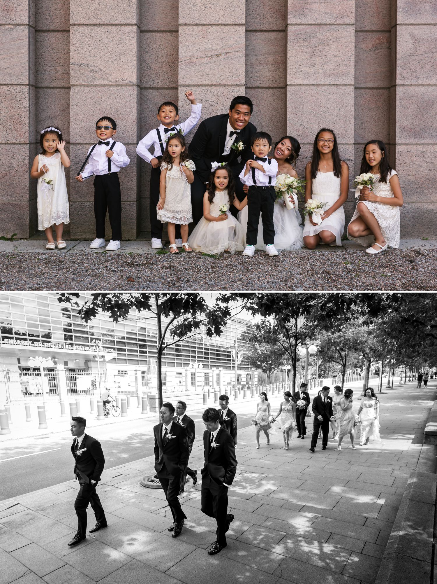 Portraits of the groom with his groomsmen in downtown Ottawa on the way to the wedding reception