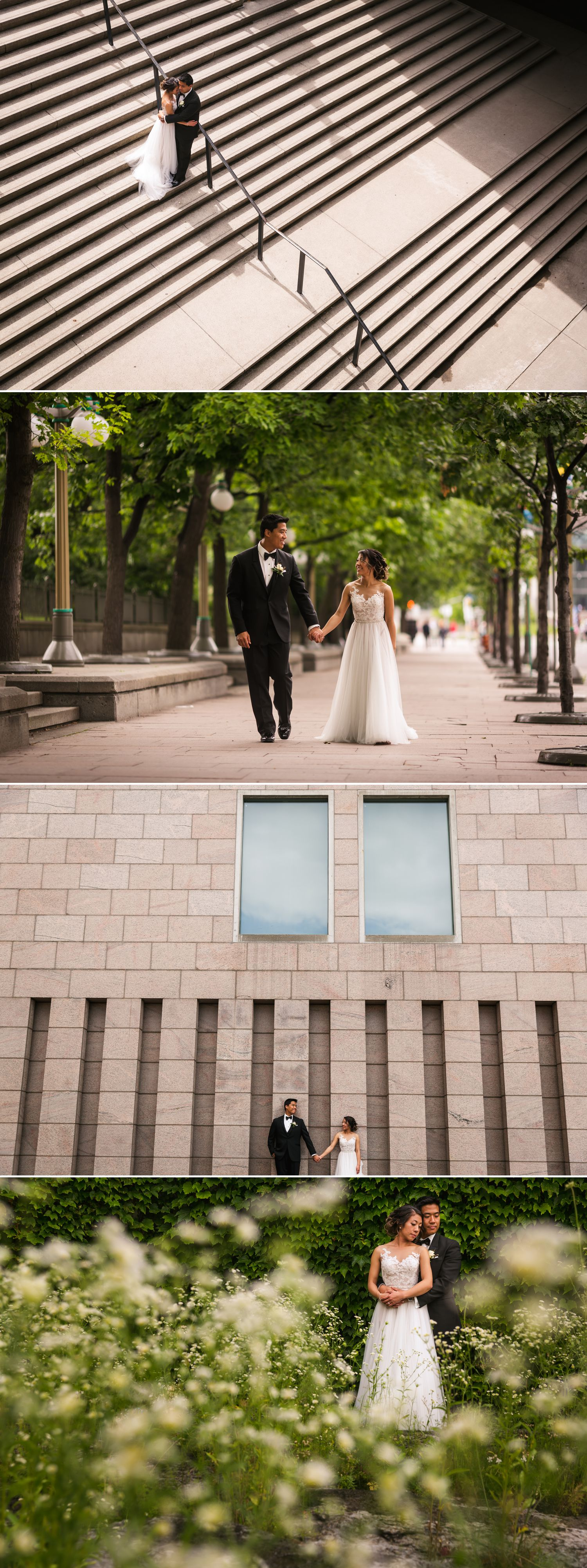 Portraits of the bride and groom taken outside in downtown Ottawa