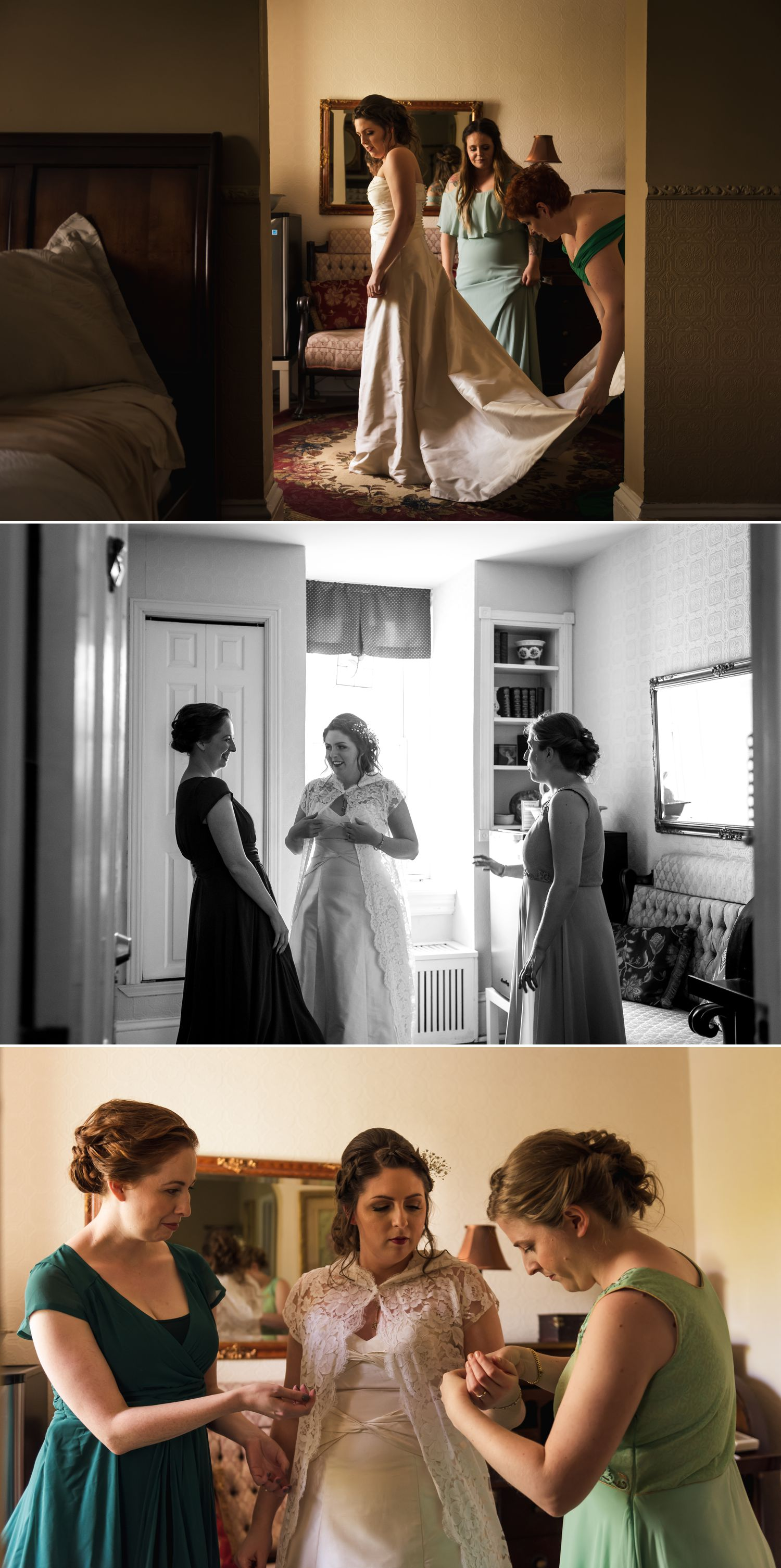 The bride with her mother and bridesmaids getting ready at their home in Ottawa