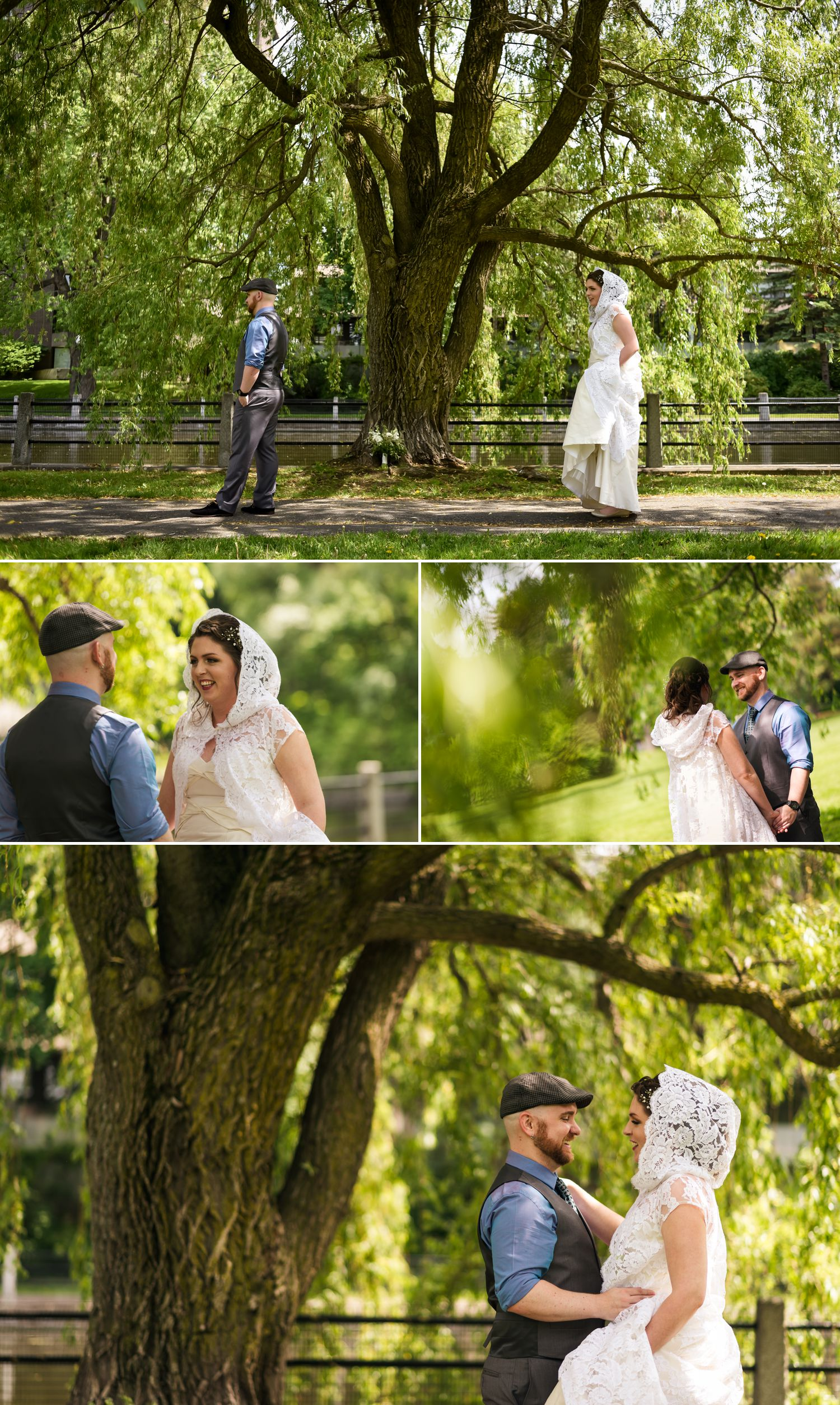 The bride and groom during their 'First Look' at Linden Terrace by the Rideau Canal in downtown Ottawa