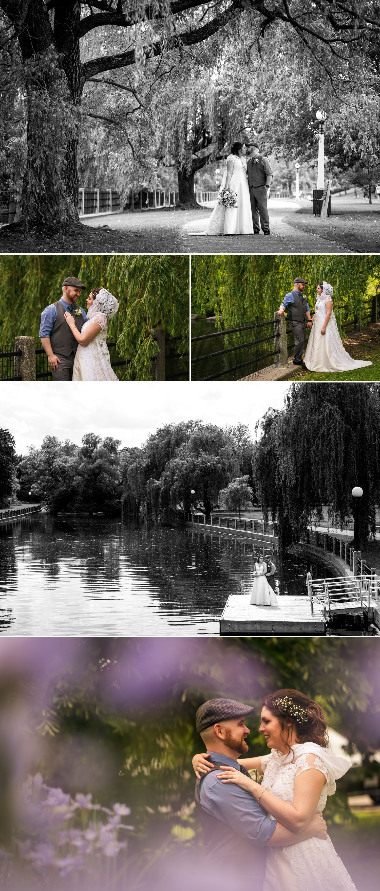 Couples portraits of the bride and groom at Linden Terrace by the Rideau Canal in downtown Ottawa