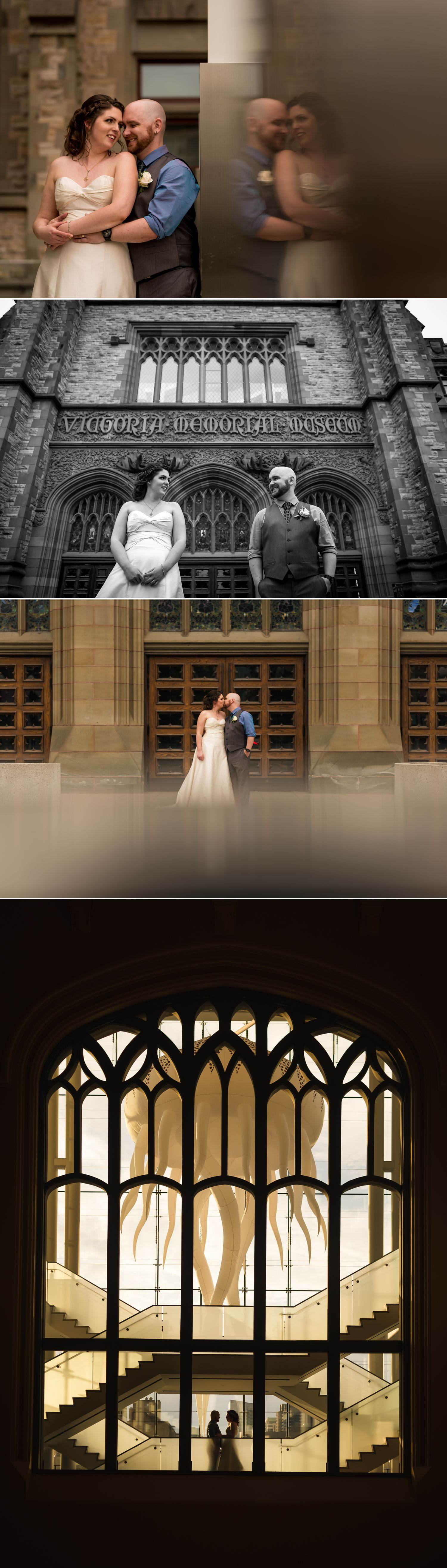Couples portraits of the bride and groom taken at the Museum of Nature in downtown Ottawa