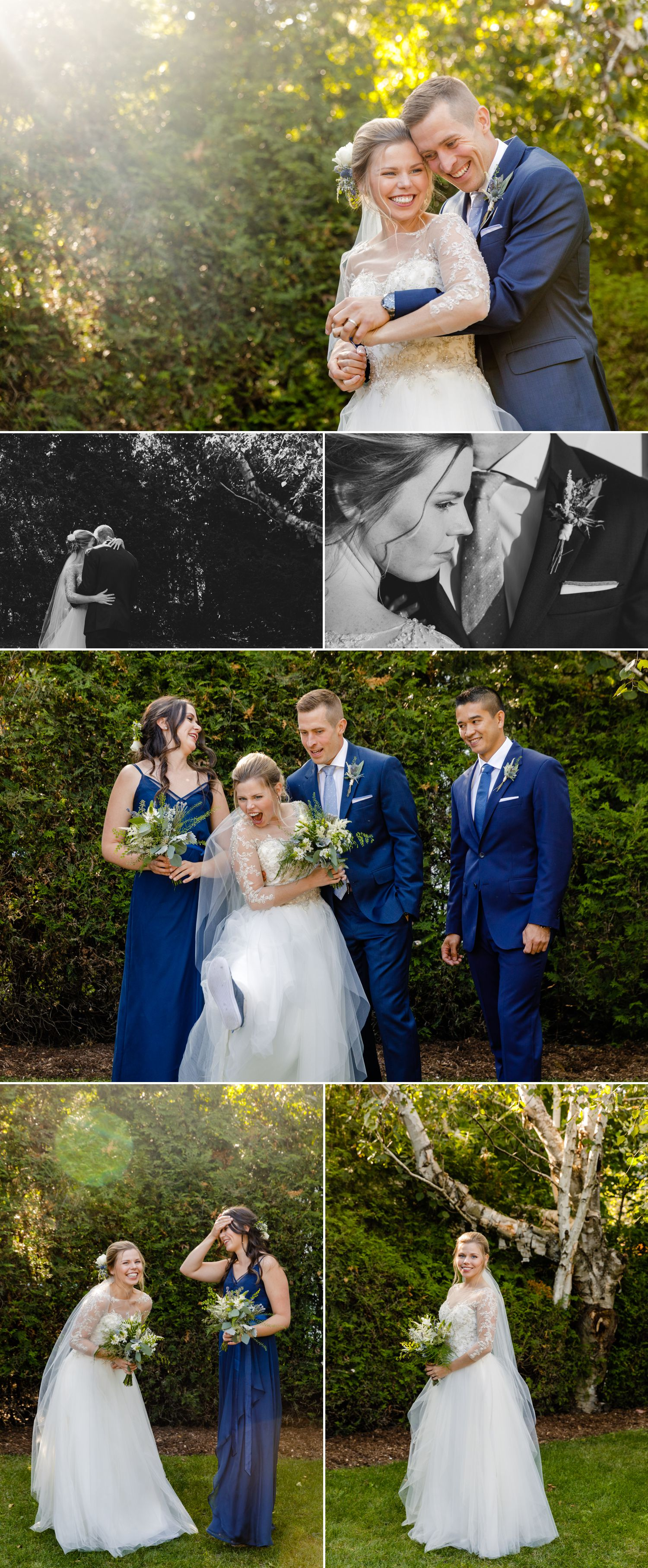Portraits of the bride and groom and their wedding party after their intimate backyard wedding in Ottawa