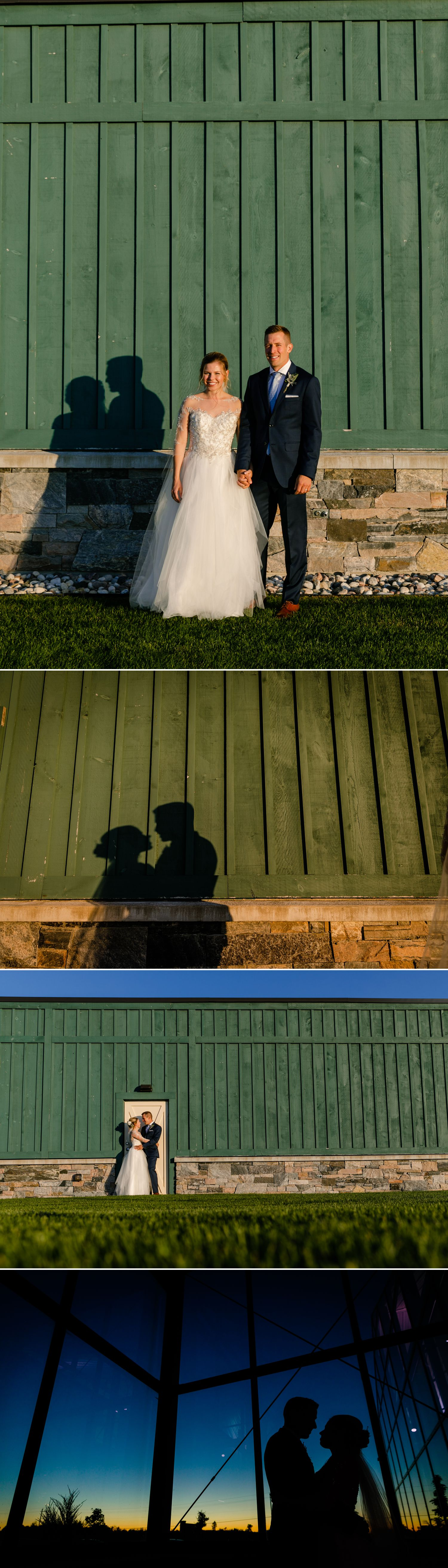Portraits of the bride and groom during their wedding reception at Aquatopia