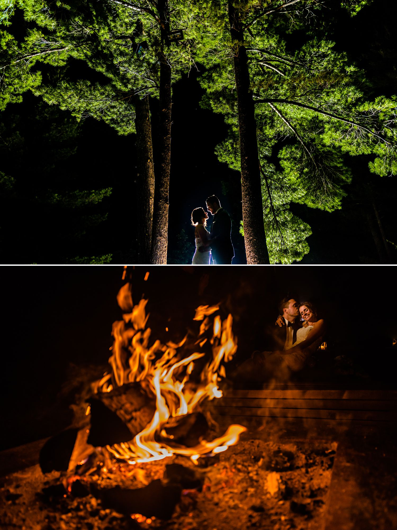 bride and groom nightime portraits at an italian wedding at le belevedere in wakefield quebec