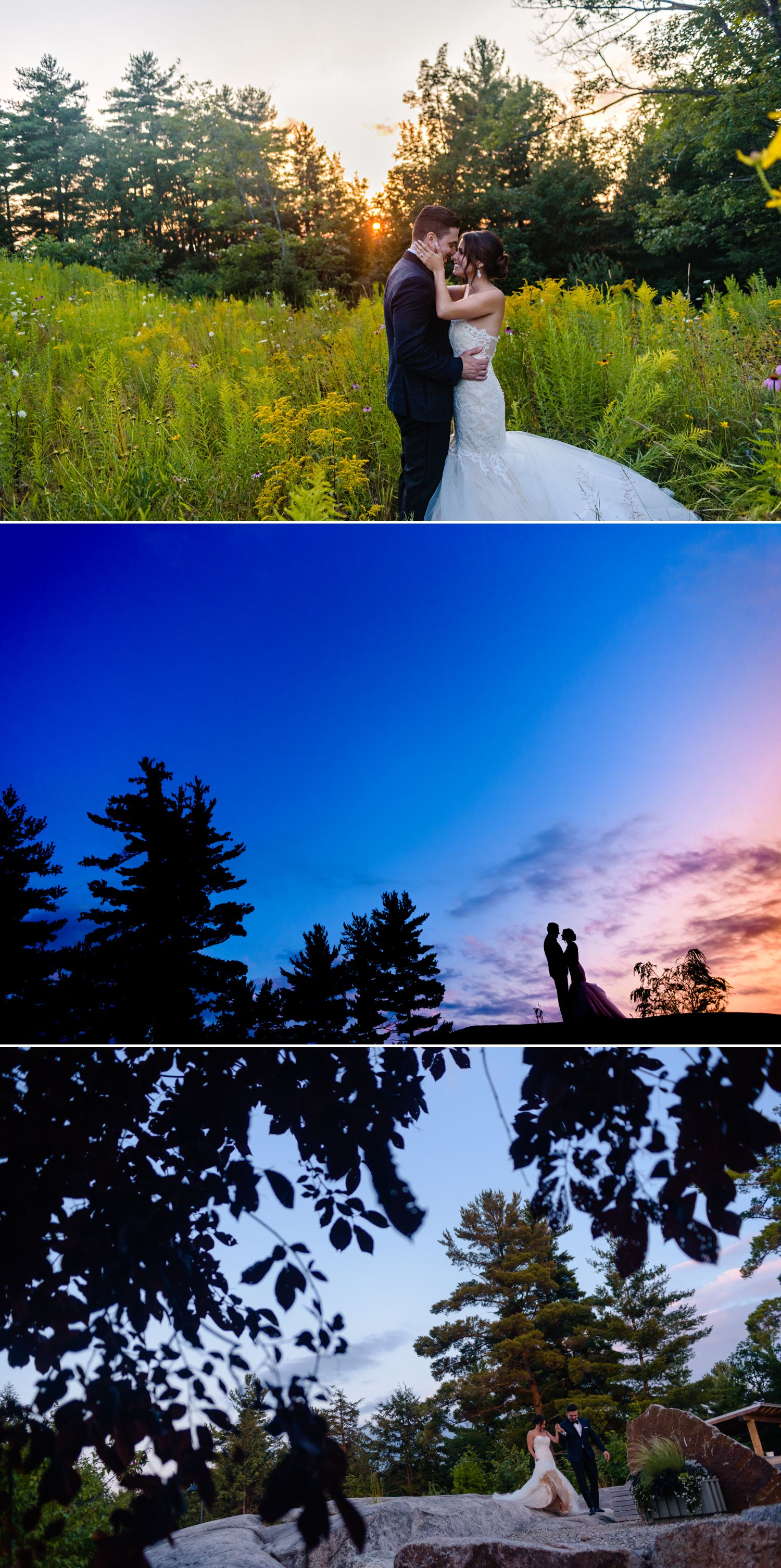 bride and groom sunset portraits at an italian wedding at le belevedere in wakefield quebec